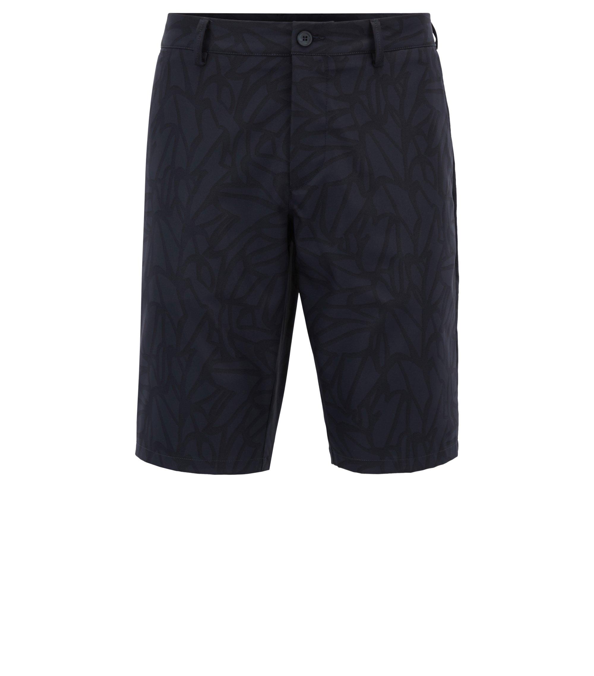 Bedruckte Slim-Fit Shorts aus wasserabweisendem Twill, Dunkelblau