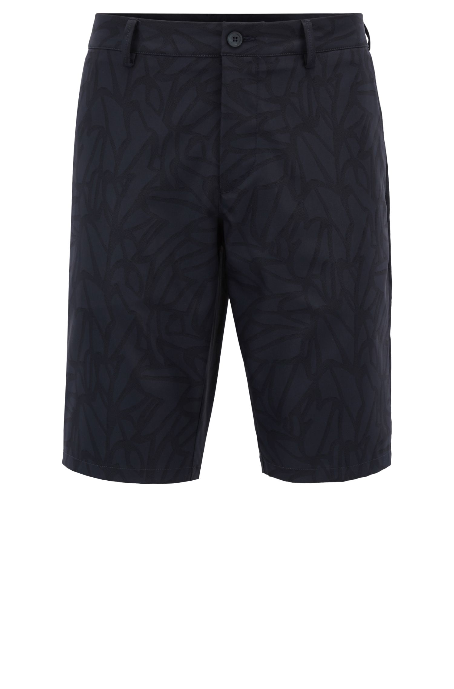 Tailored shorts in water-repellent printed twill