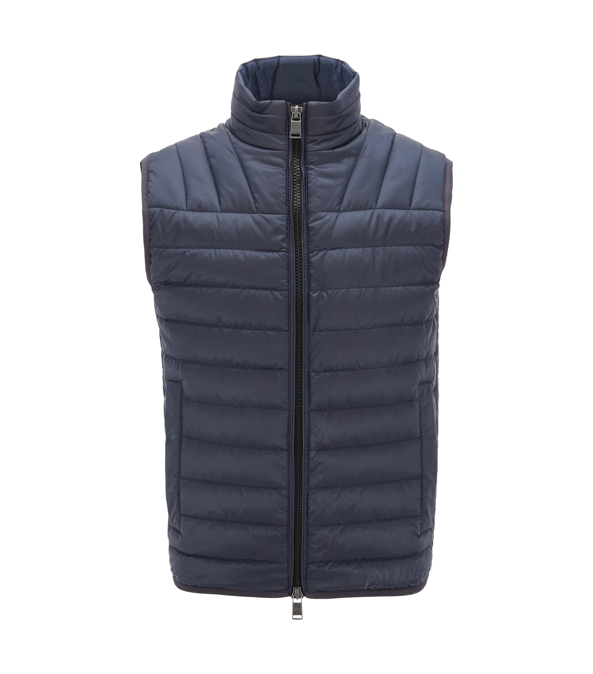Quilted down-filled gilet in water-repellent fabric, Dark Blue