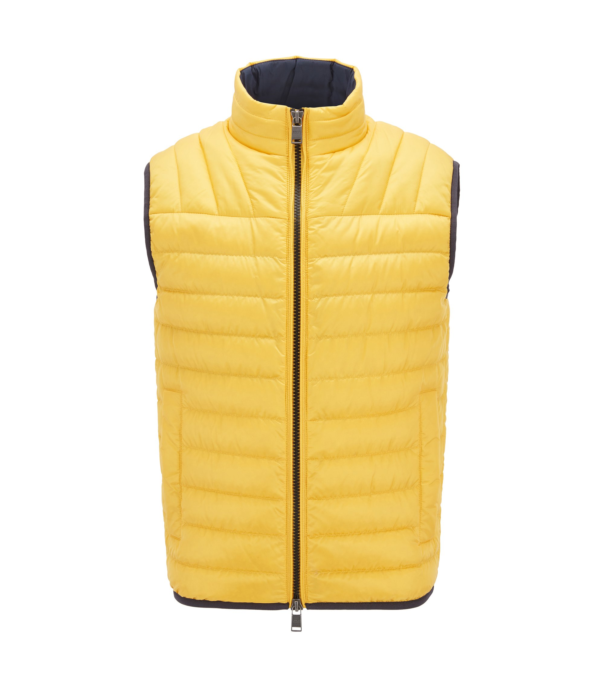 Quilted down-filled gilet in water-repellent fabric, Yellow