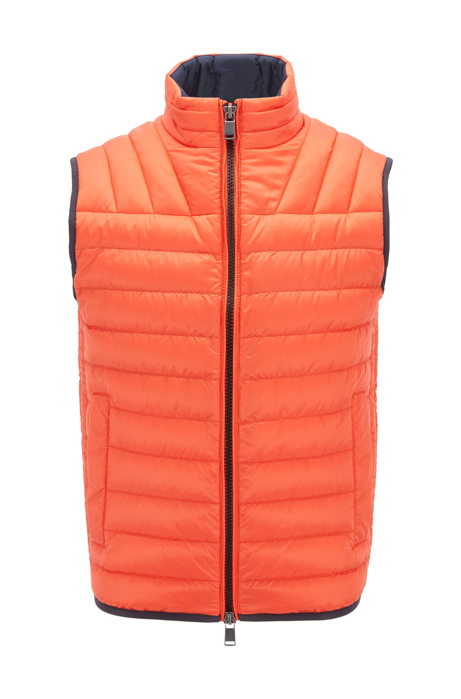 Quilted down-filled gilet in water-repellent fabric, Orange