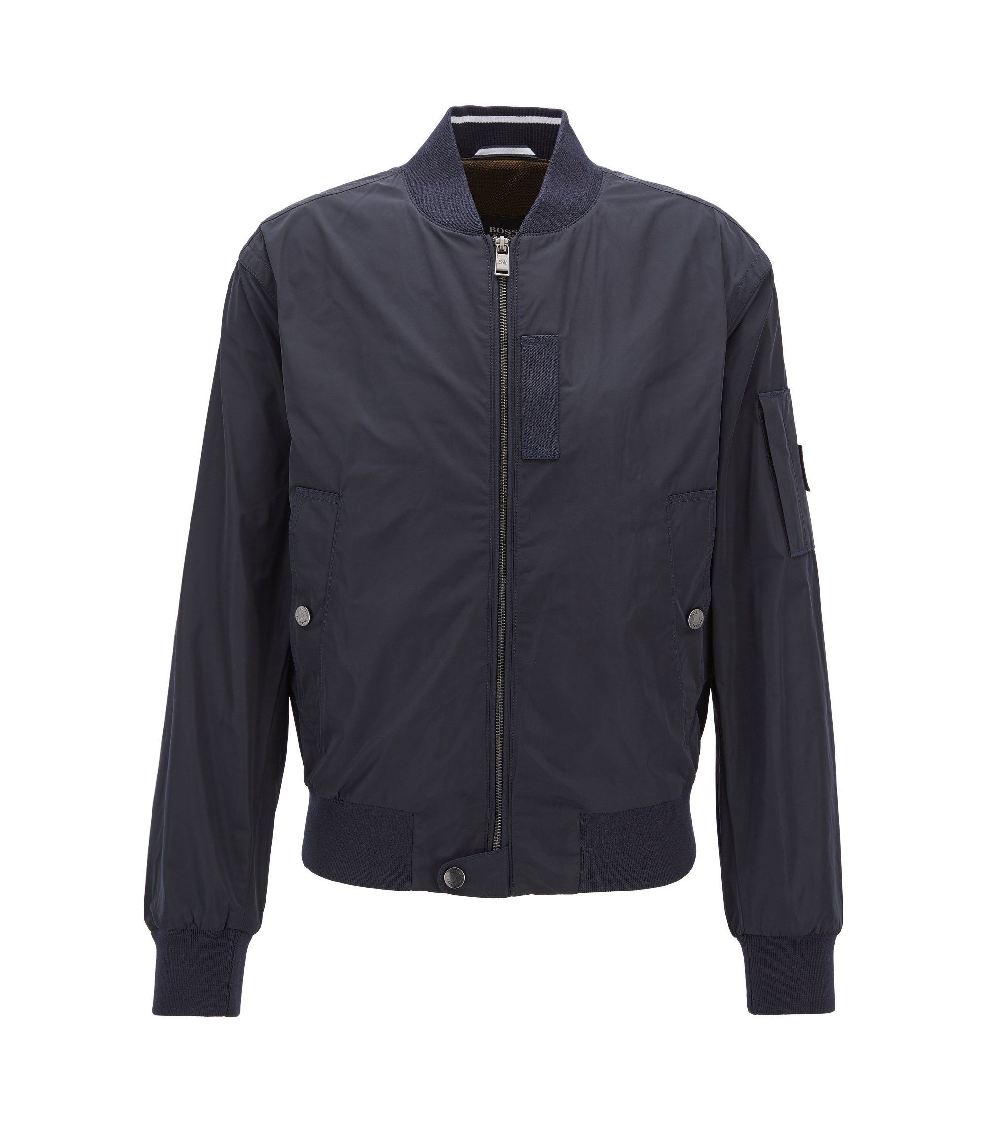 Bomber jacket in smooth technical fabric, Dark Blue