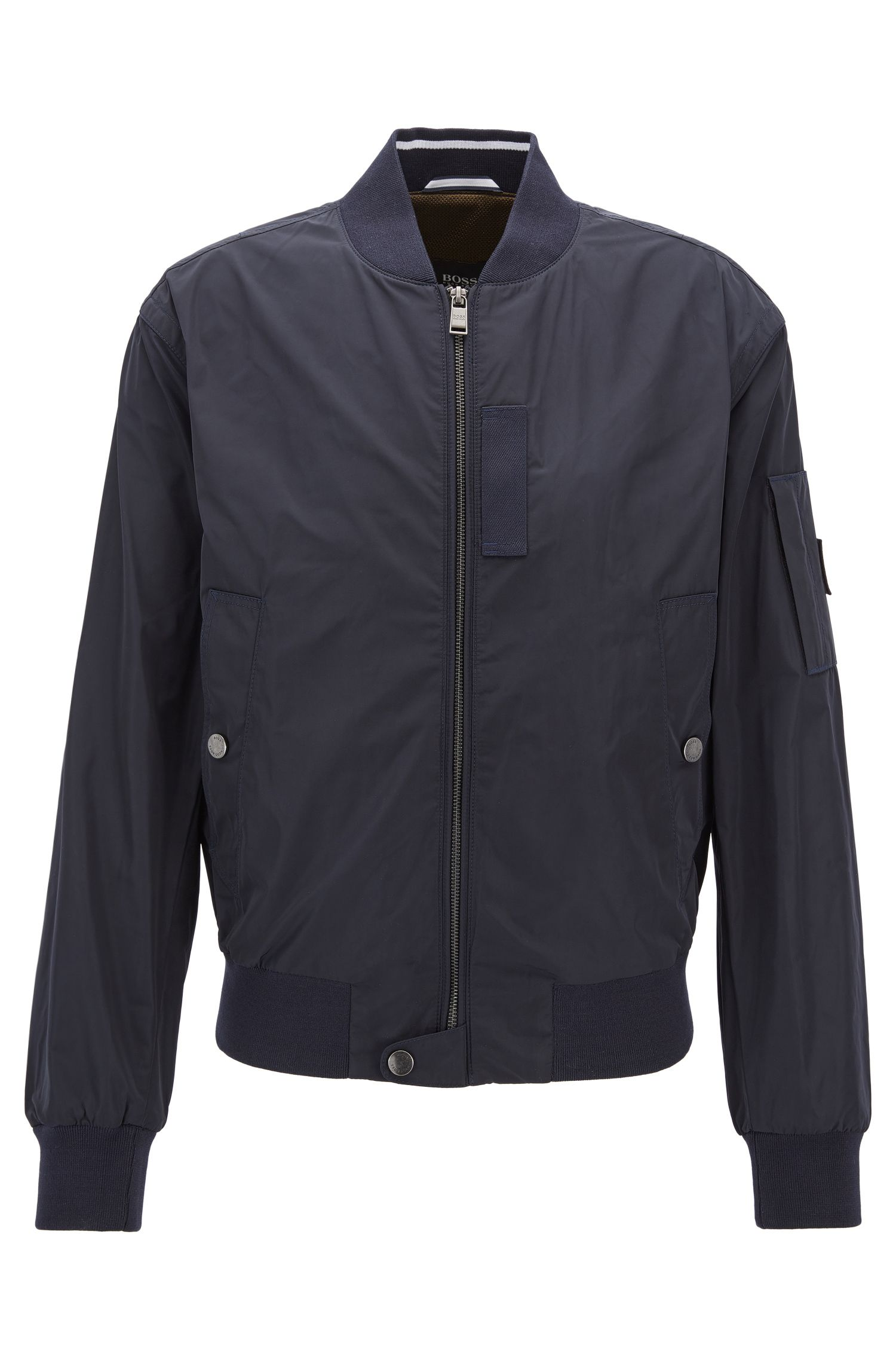 Bomber jacket in smooth technical fabric