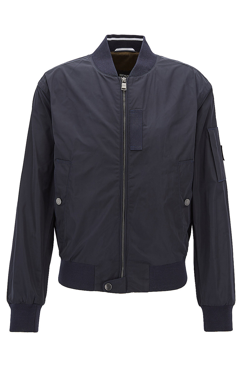 Bomber jacket in smooth technical fabric, Dark Blue. Bomber jacket in  smooth technical fabric by BOSS