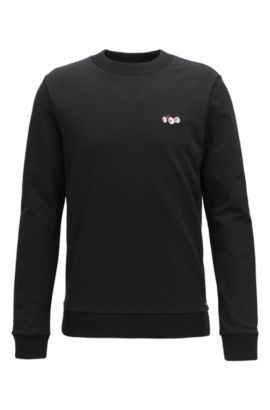 Cotton sweater with race car motif, Black