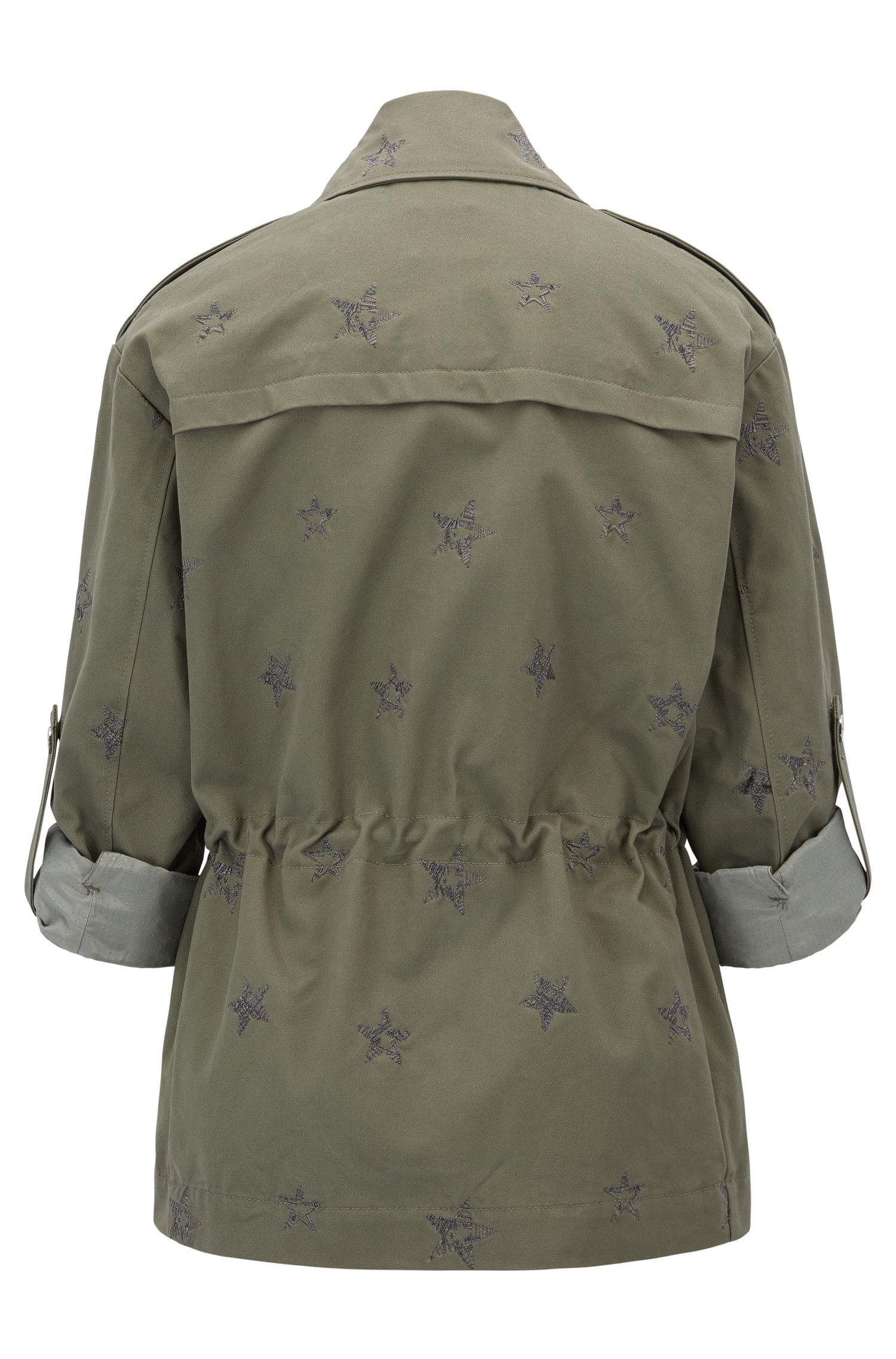 Regular-fit katoenen shirtjack met geborduurd sterrendessin