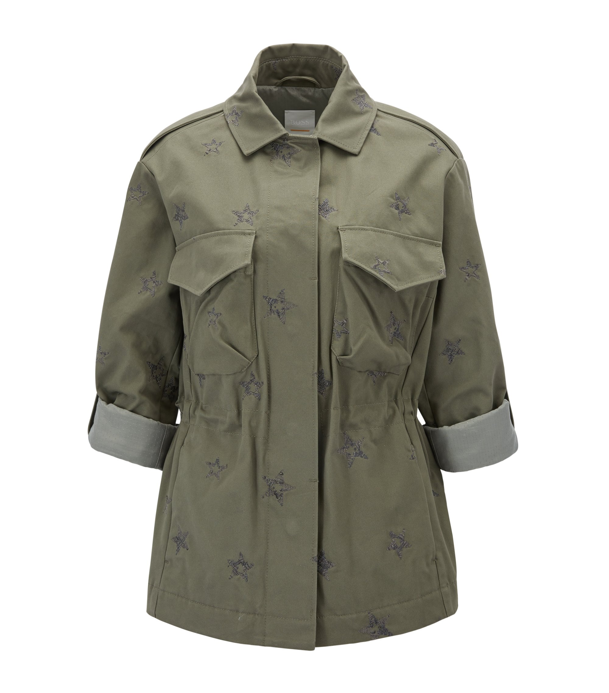 Embroidered star-motif cotton shirt jacket in a regular fit, Khaki
