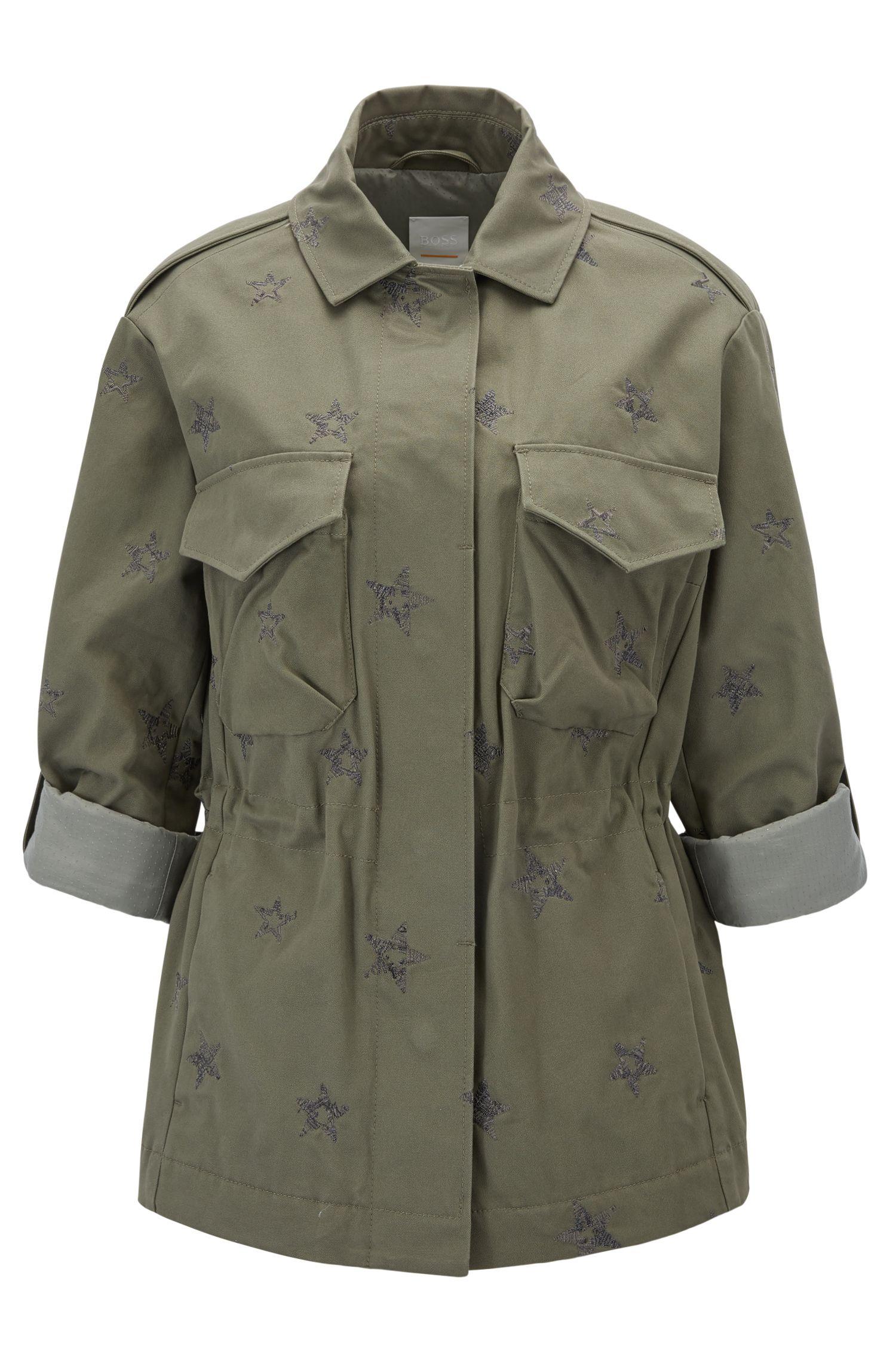 Camisa cazadora de algodón regular fit con estrellas bordadas