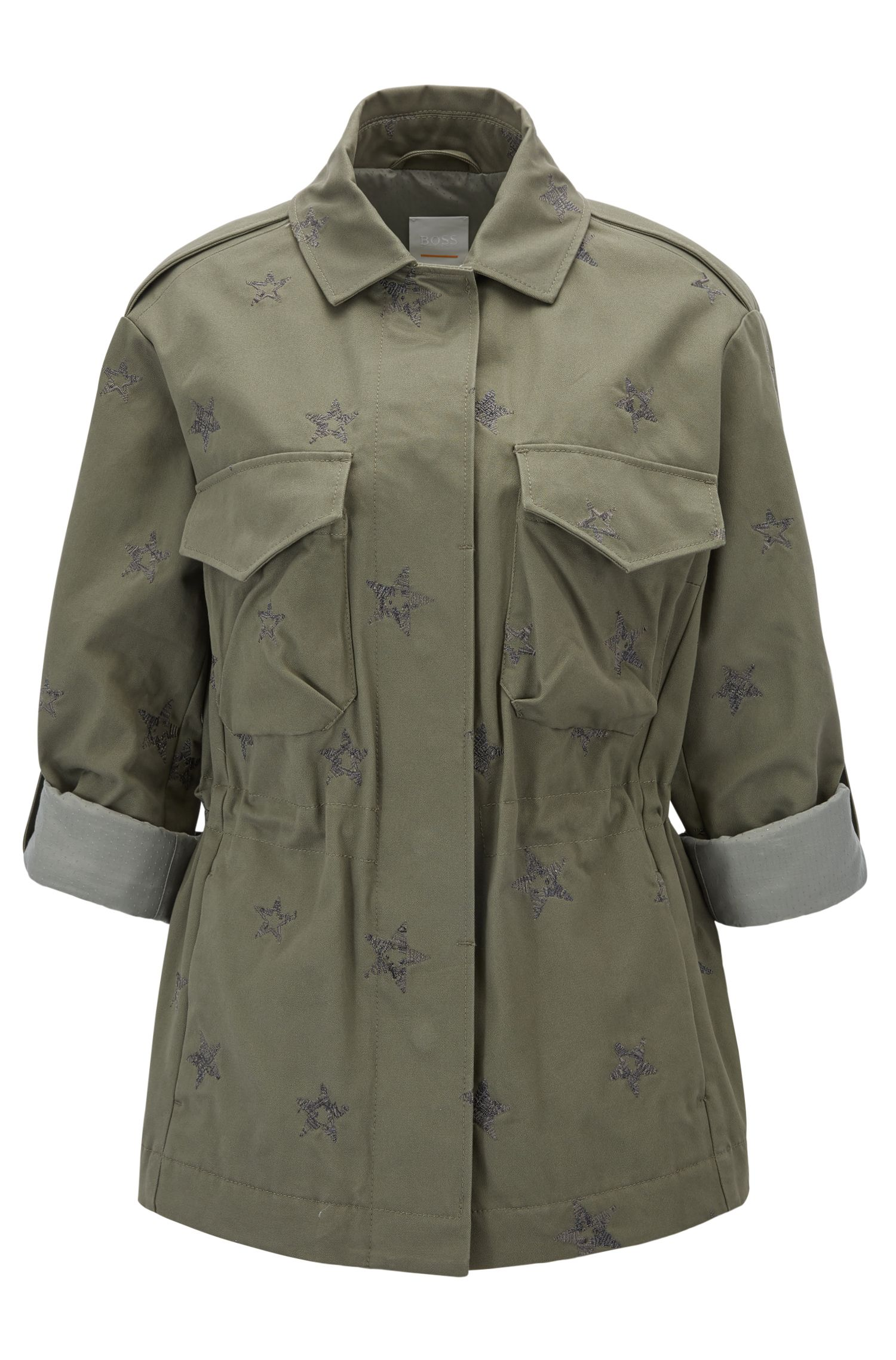 Embroidered star-motif cotton shirt jacket in a regular fit