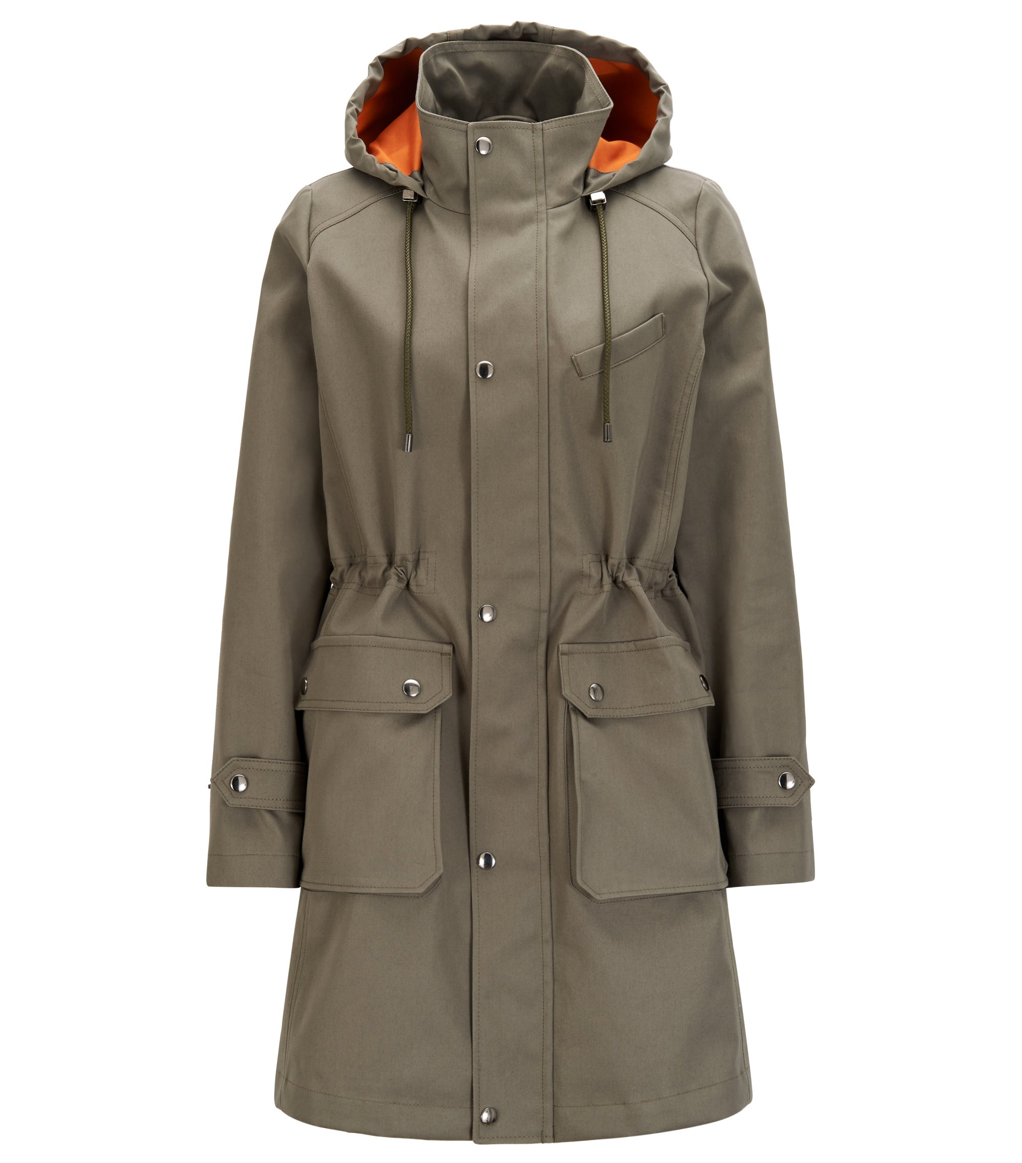 Regular-fit hooded parka in cotton twill, Khaki
