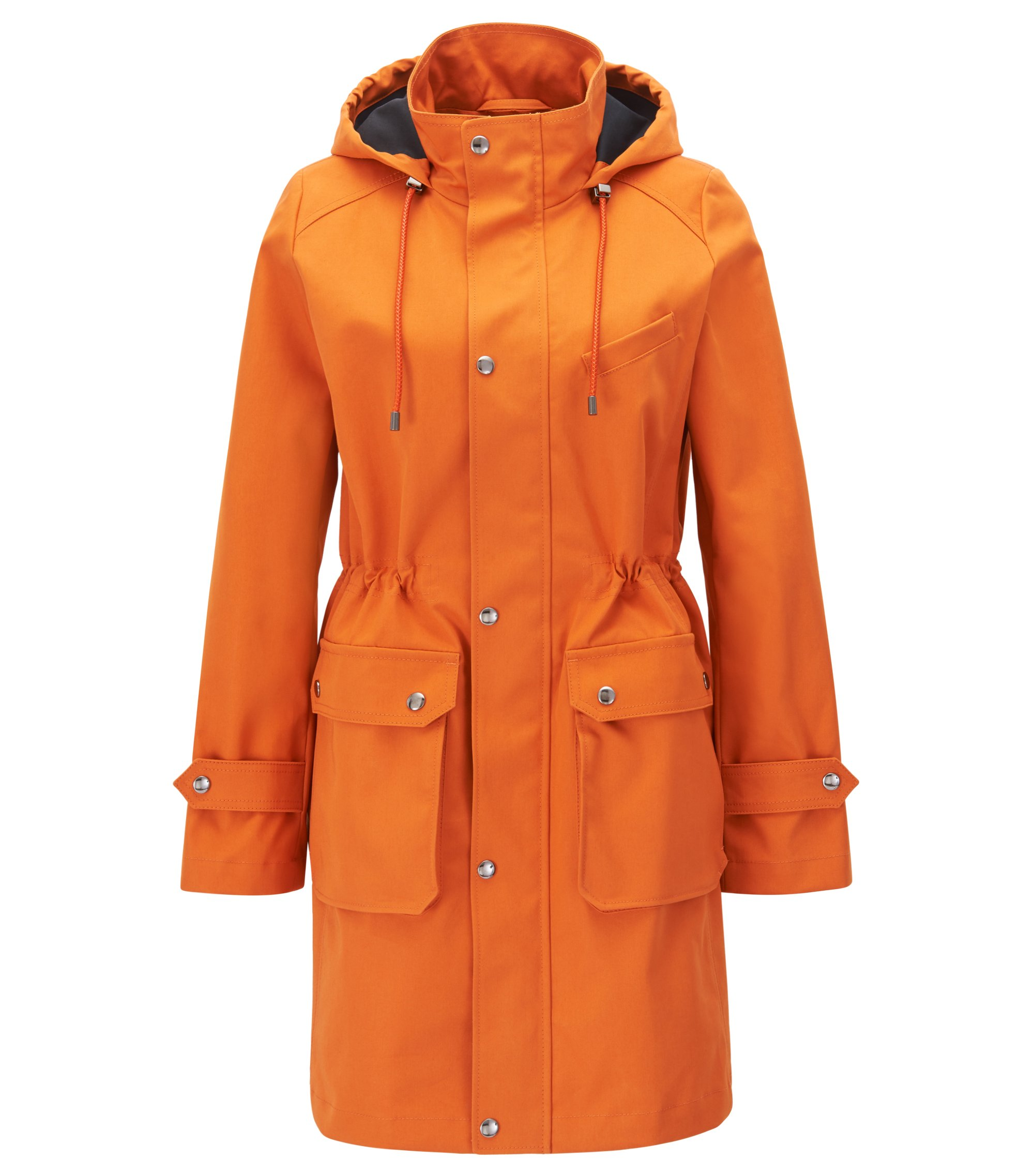 Regular-fit hooded parka in cotton twill, Orange