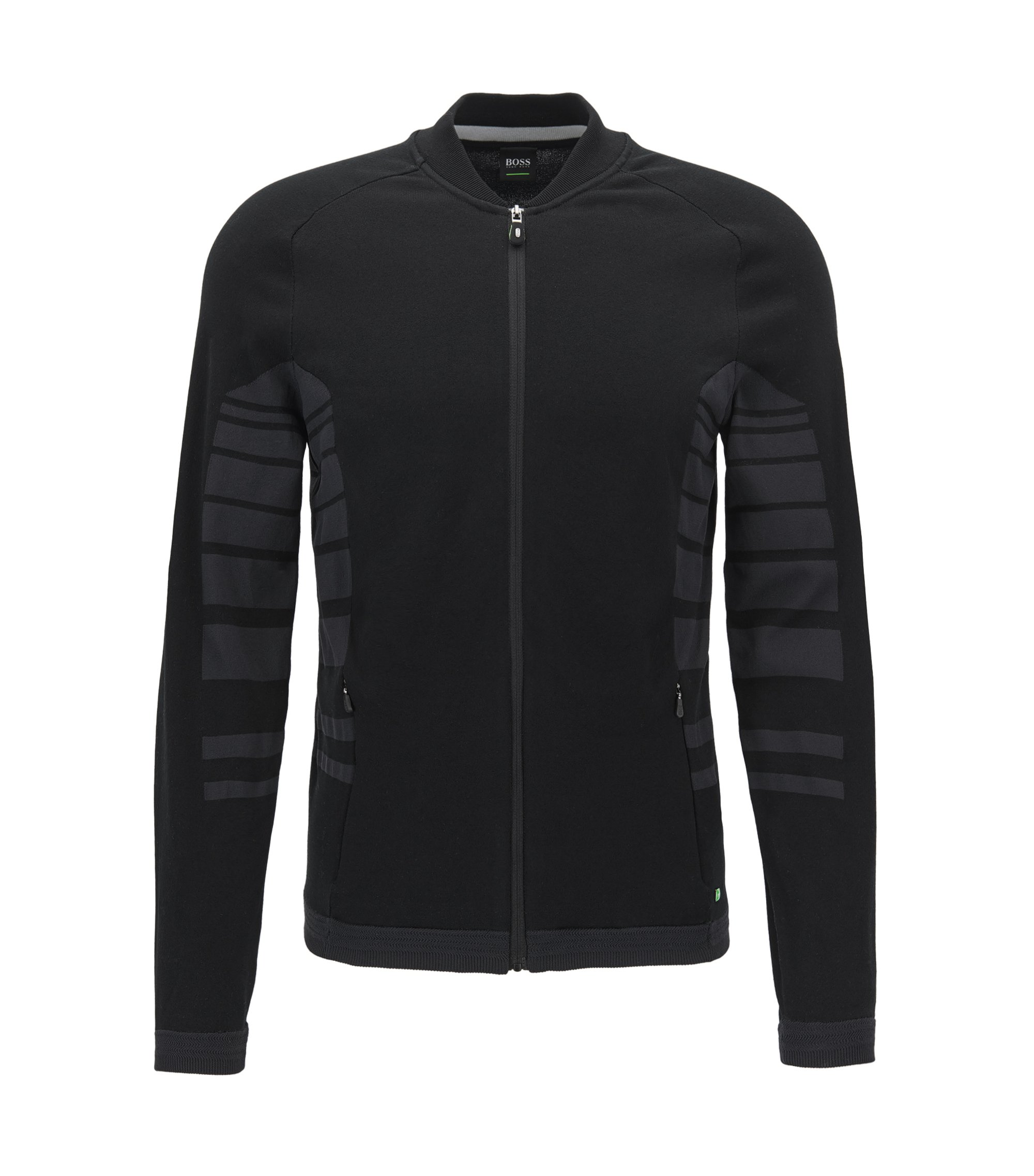 Zip-through cotton-blend jacket with striped panels, Black