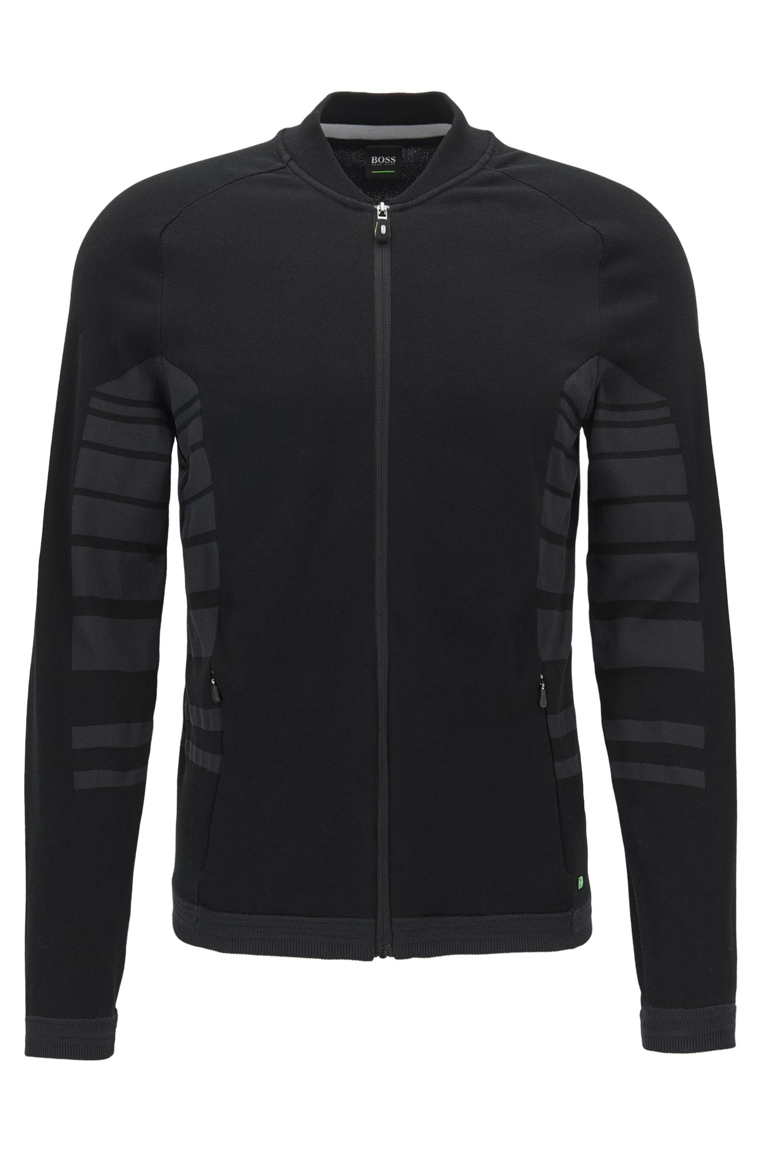 Zip-through cotton-blend jacket with striped panels