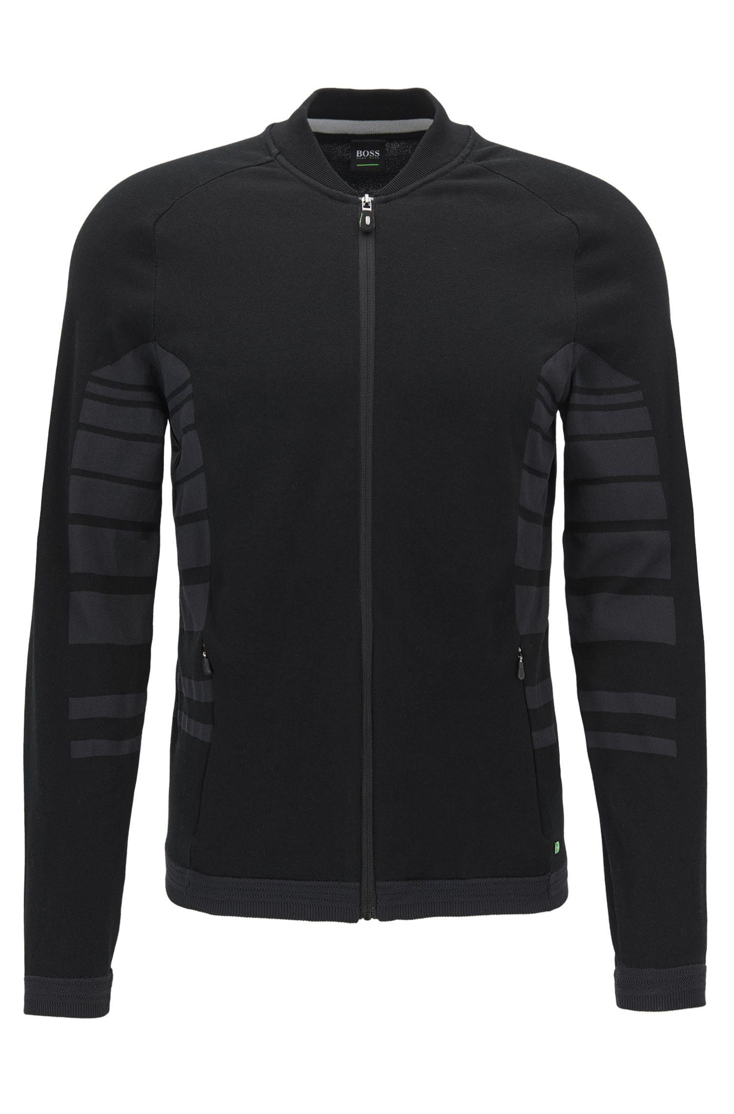 Jacke aus Baumwoll-Mix mit gestreiften Einsätzen und Reißverschluss