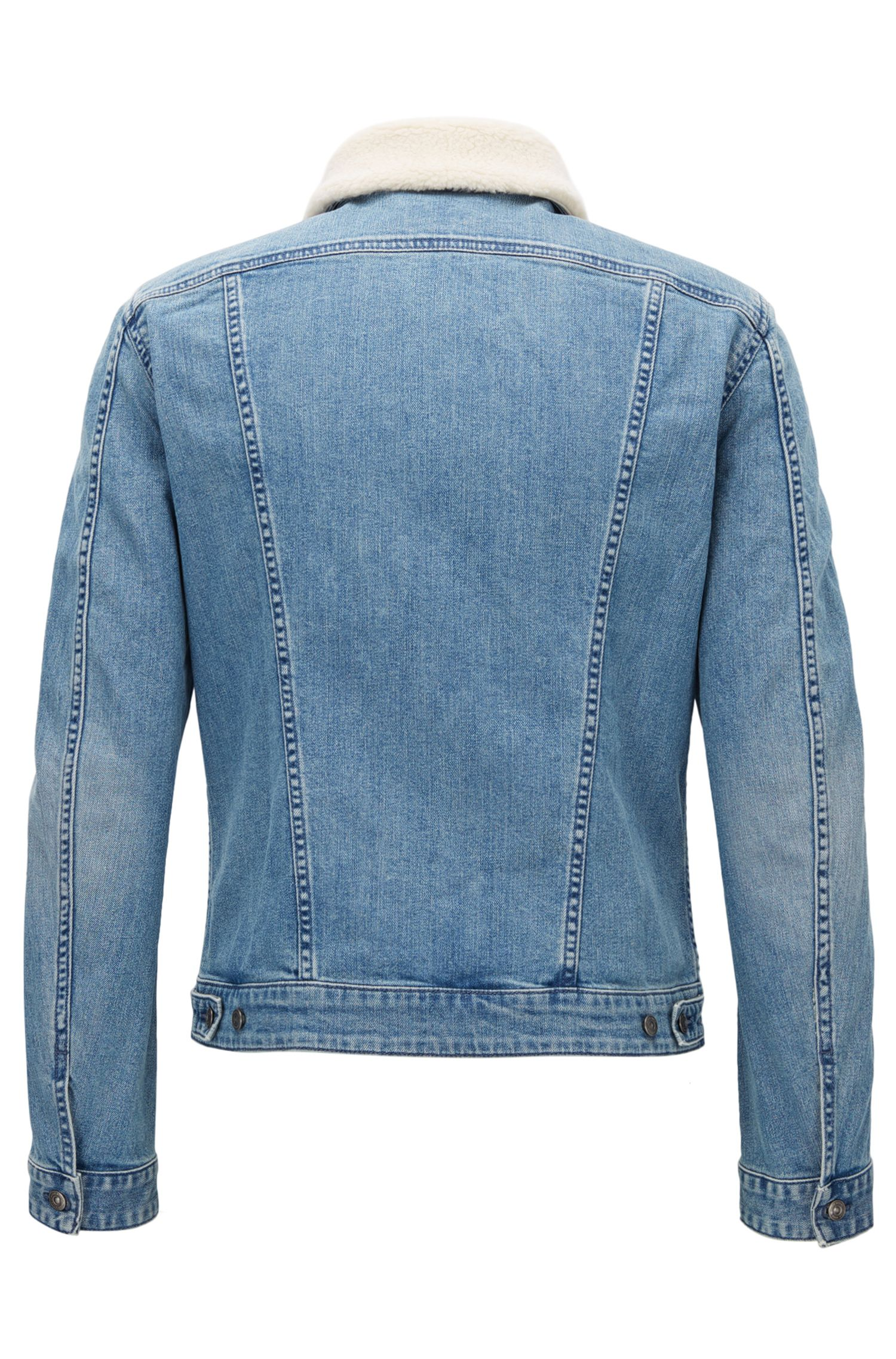 Slim-Fit Jacke aus Stretch-Denim mit Kunstfellkragen