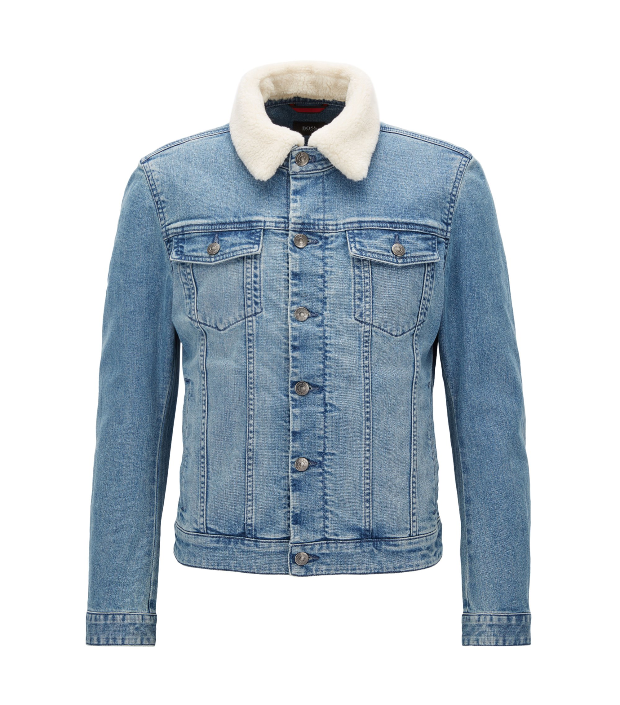 Slim-Fit Jacke aus Stretch-Denim mit Kunstfellkragen, Türkis