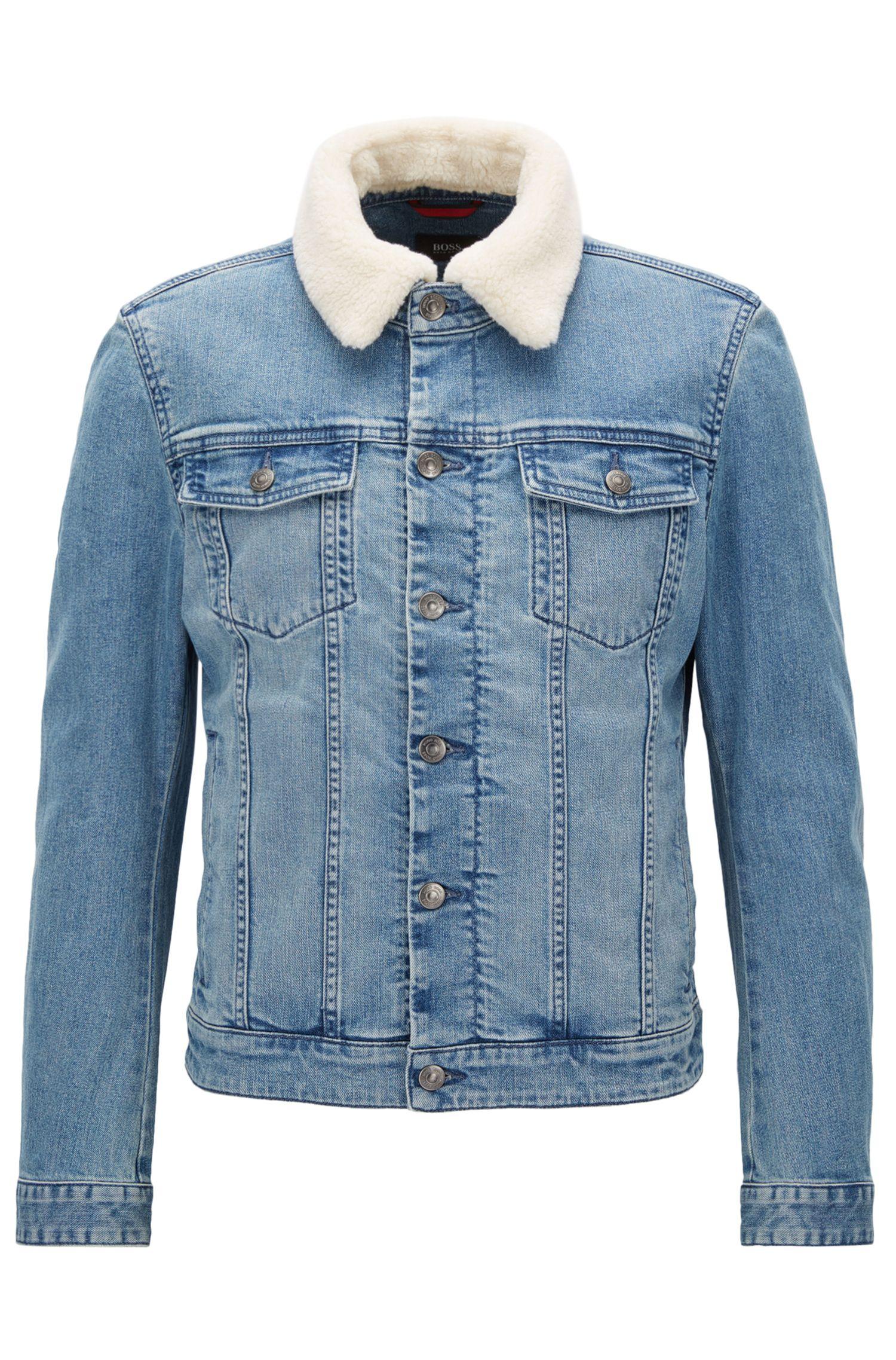 Slim-fit stretch-denim jacket with faux-fur collar