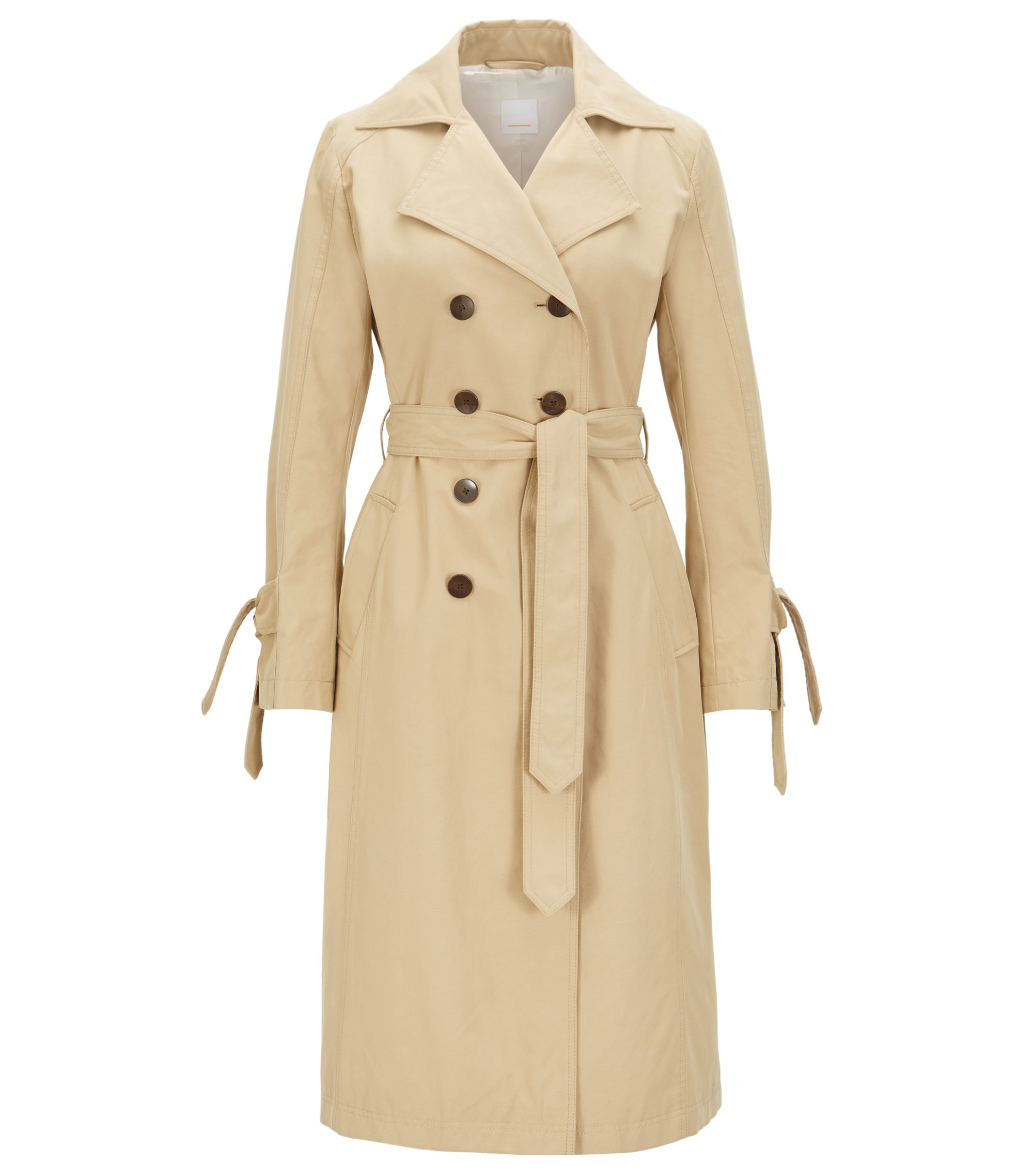 Water-repellent trench coat with sleeve straps , Beige
