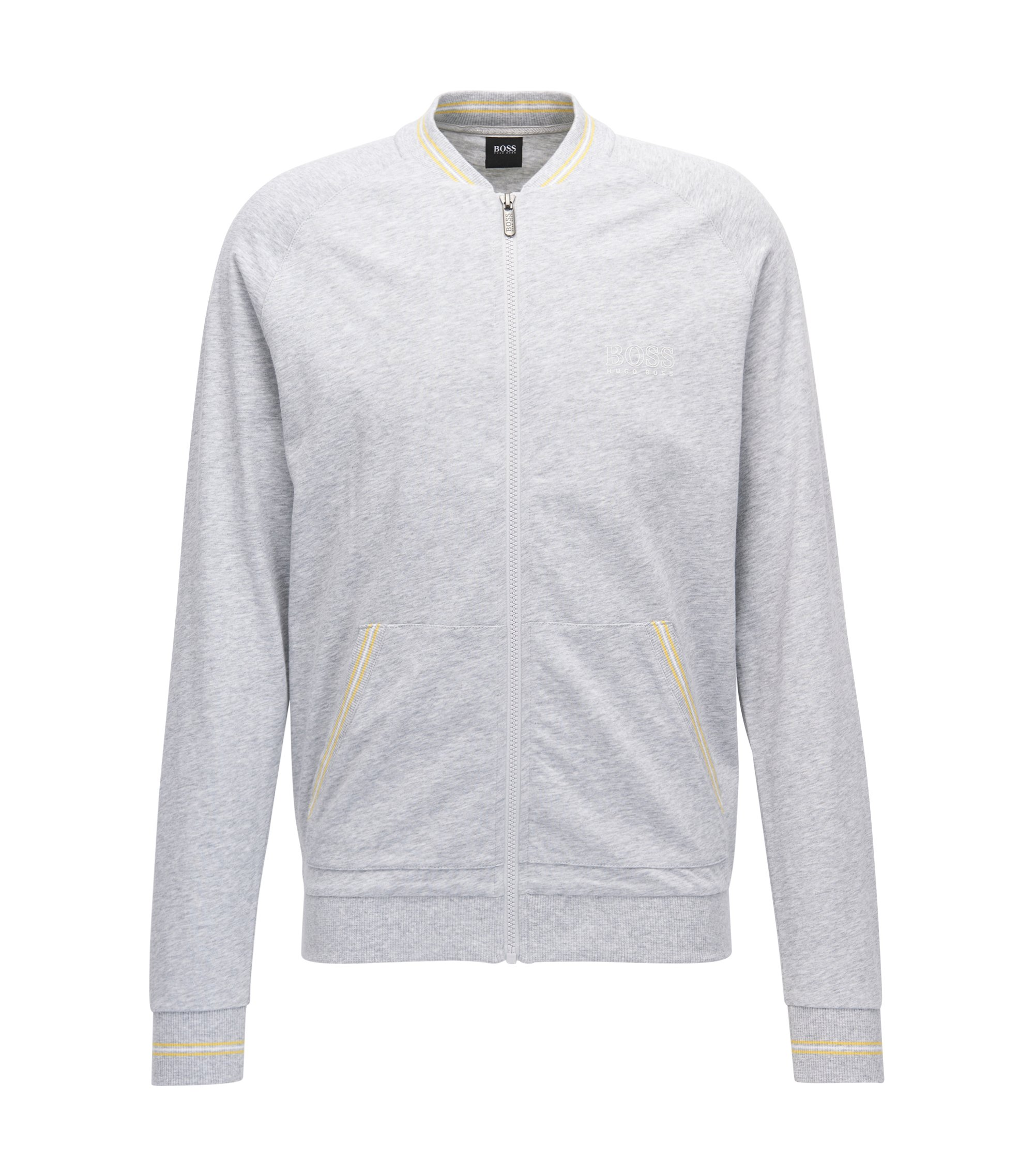 Regular-Fit Loungewear-Jacke aus Baumwoll-Jersey, Grau