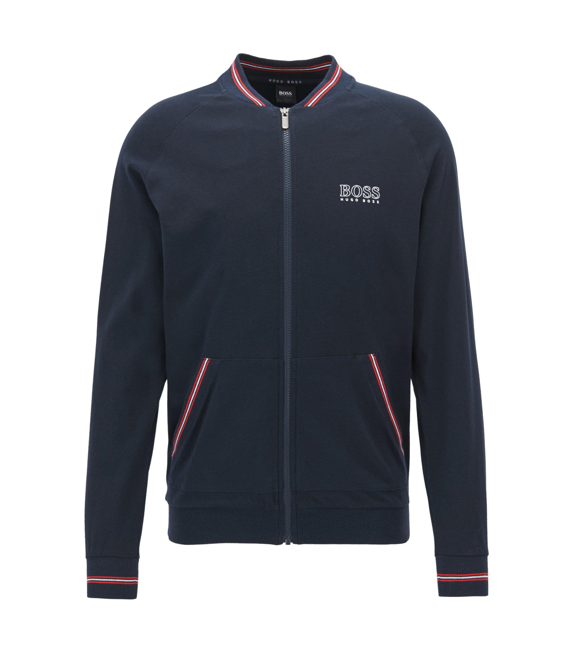 Regular-Fit Loungewear-Jacke aus Baumwoll-Jersey, Dunkelblau