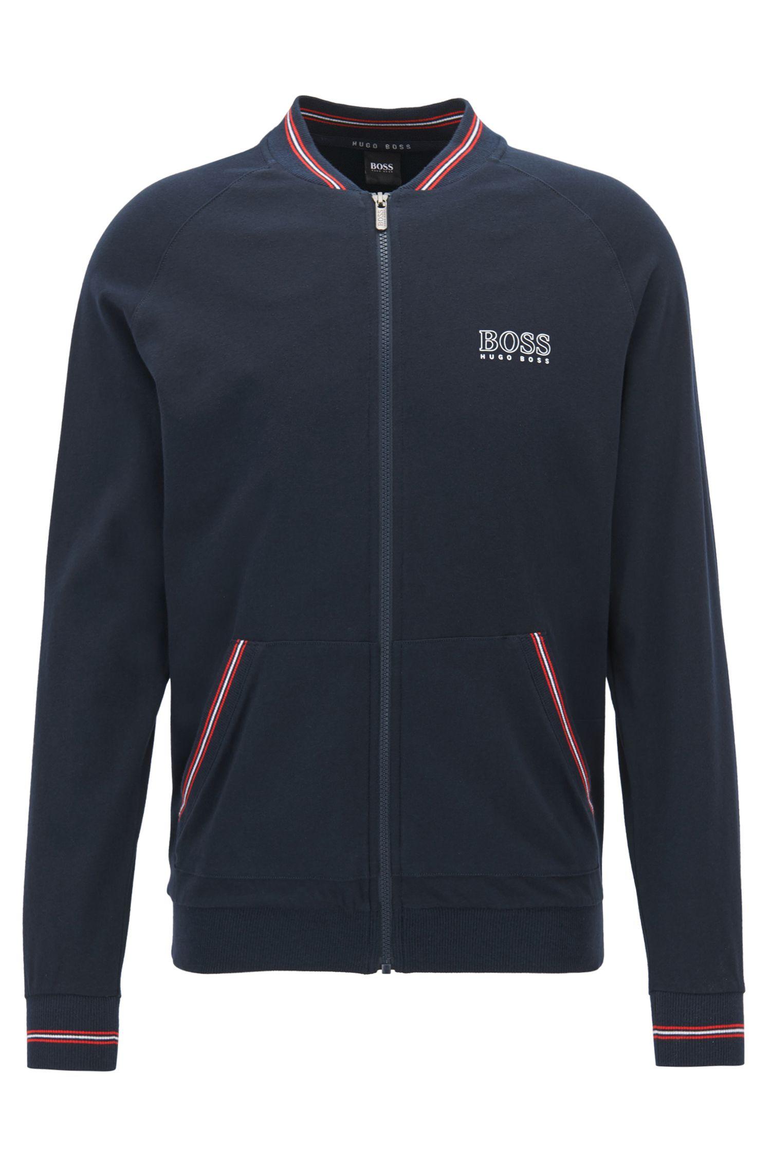 Regular-fit loungewear jacket in cotton jersey