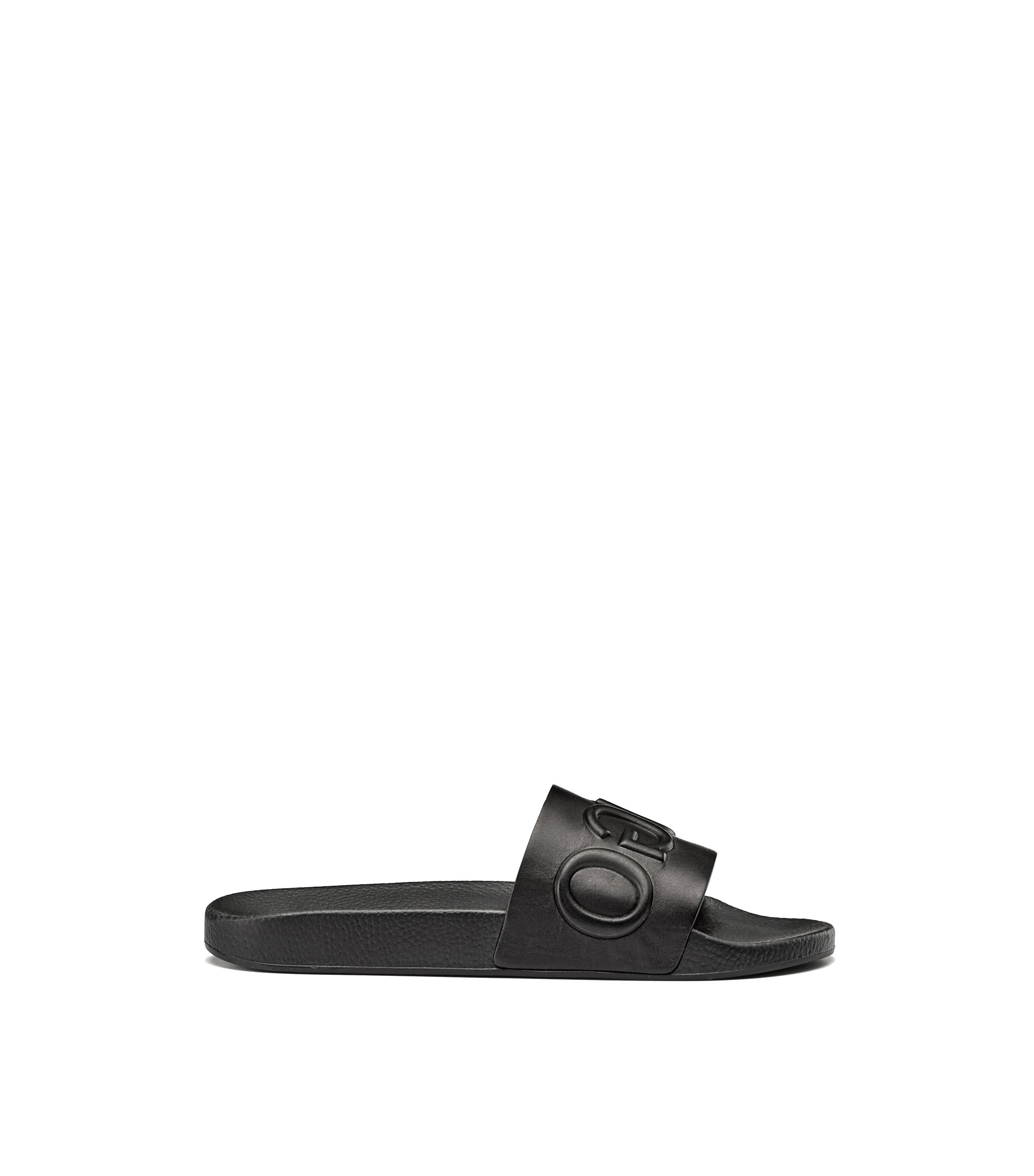 Calf-leather slide sandals with raised logo, Black