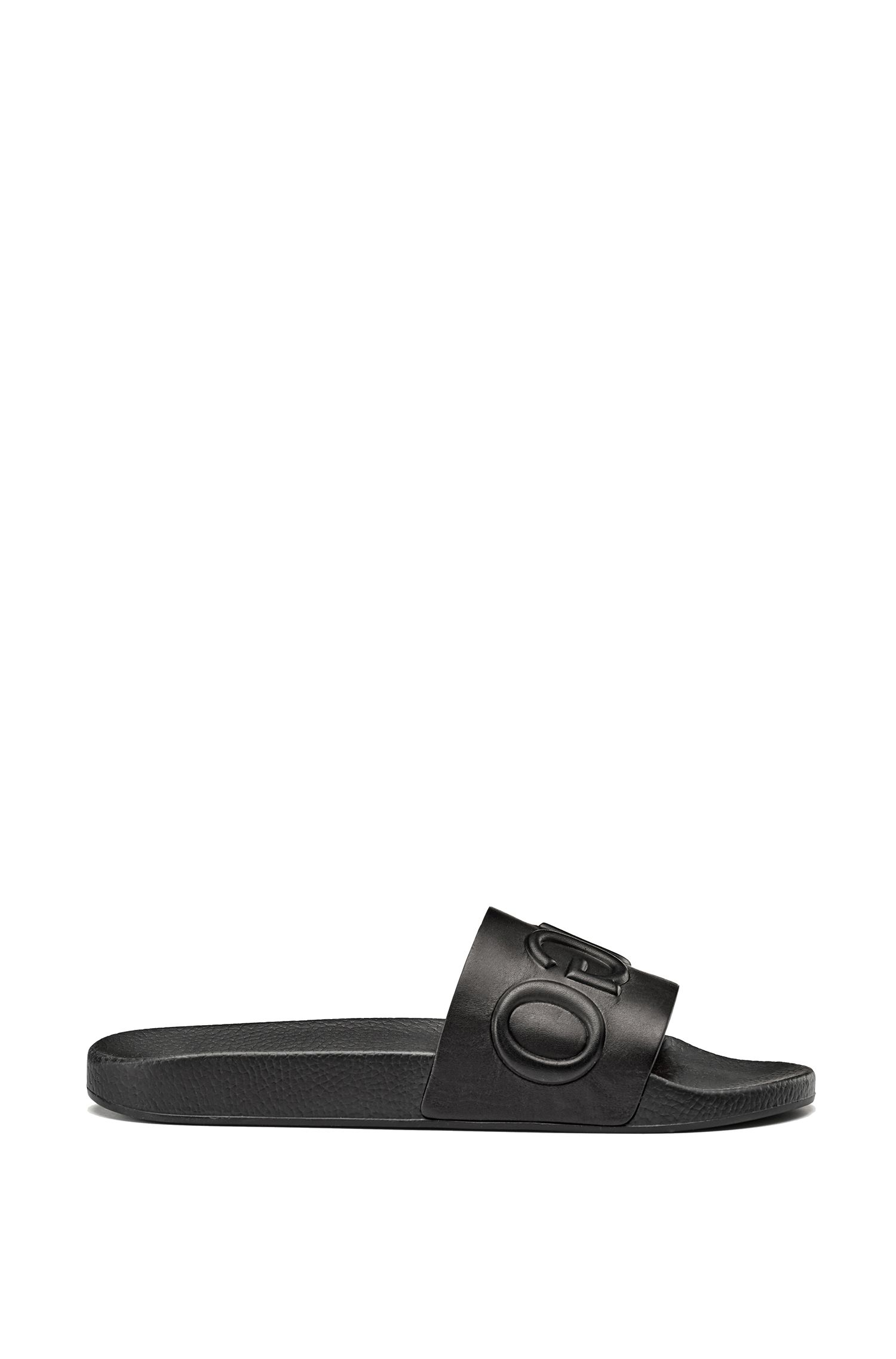 Calf-leather slide sandals with raised logo