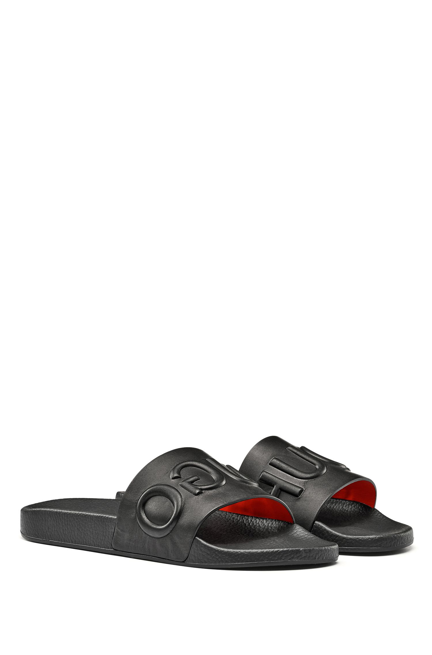 Calf-leather slide sandals with raised logo HUGO BOSS