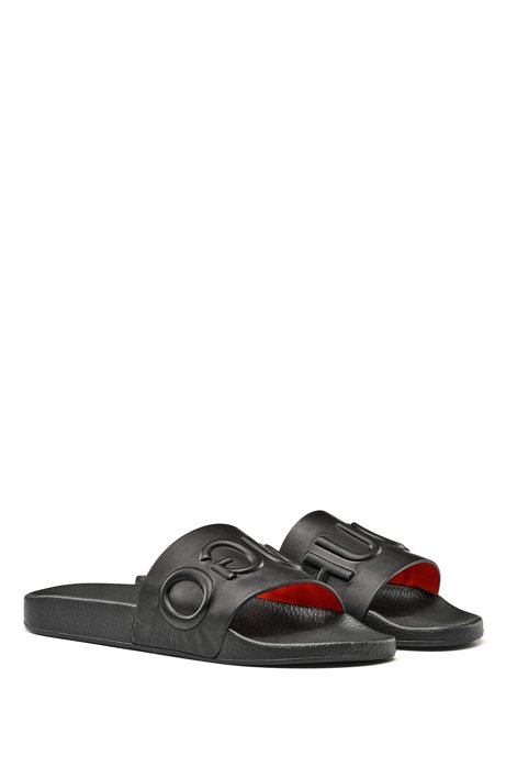 Calf-leather slide sandals with raised logo HUGO BOSS LQpyYle