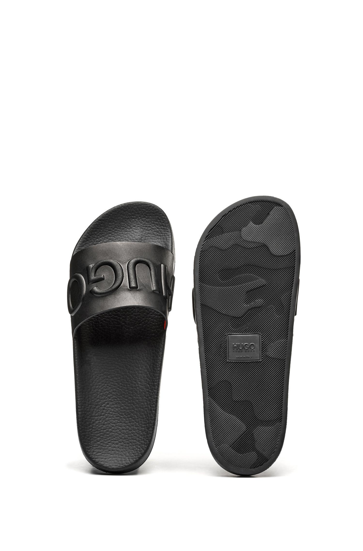 Sandales façon mules en cuir de veau avec logo en relief