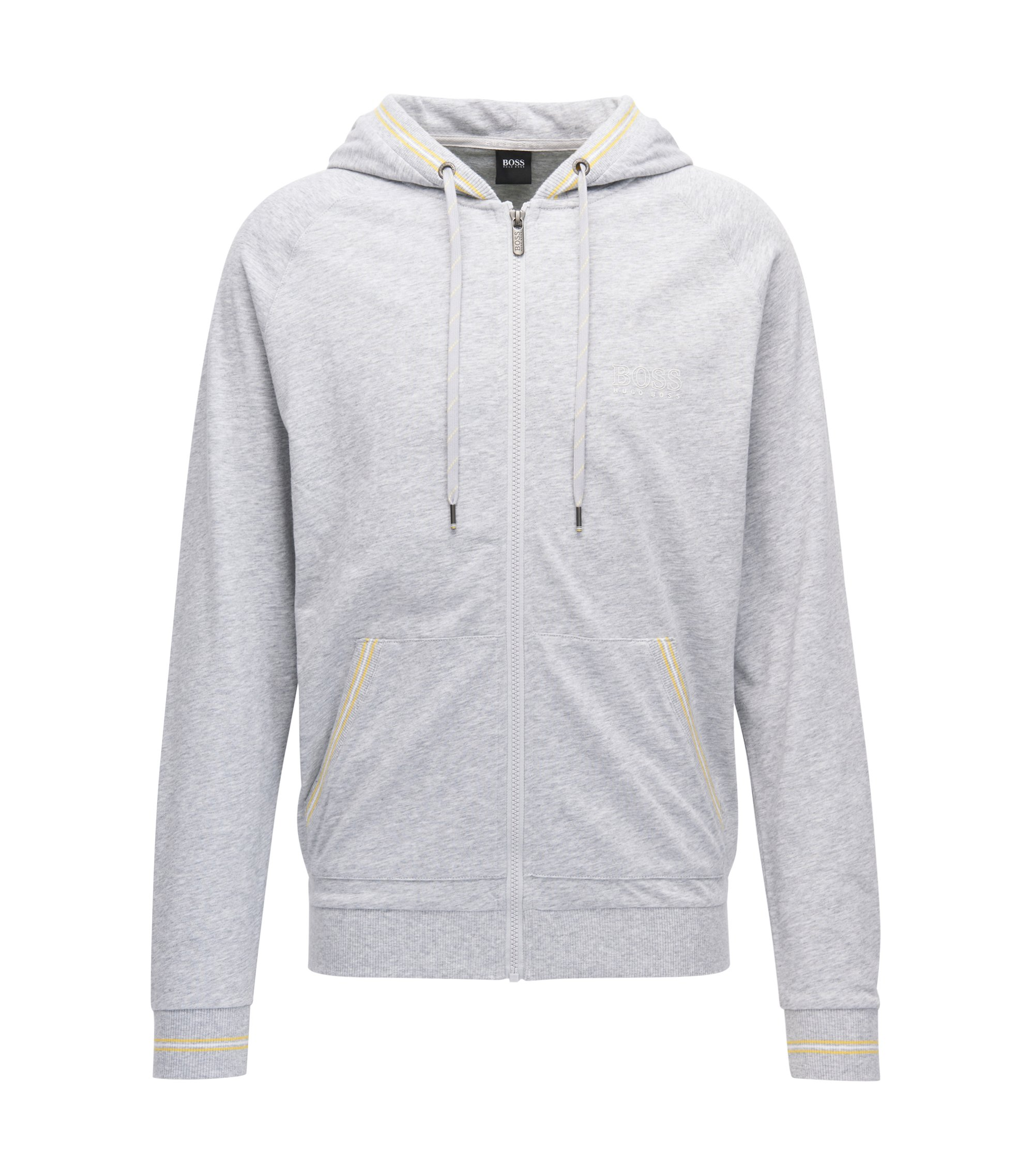 Regular-fit hooded loungewear jacket in single jersey, Grey