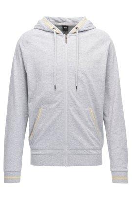 Regular-fit hooded loungewear jacket in single jersey, Grey. Regular-fit  hooded loungewear jacket in single jersey by BOSS
