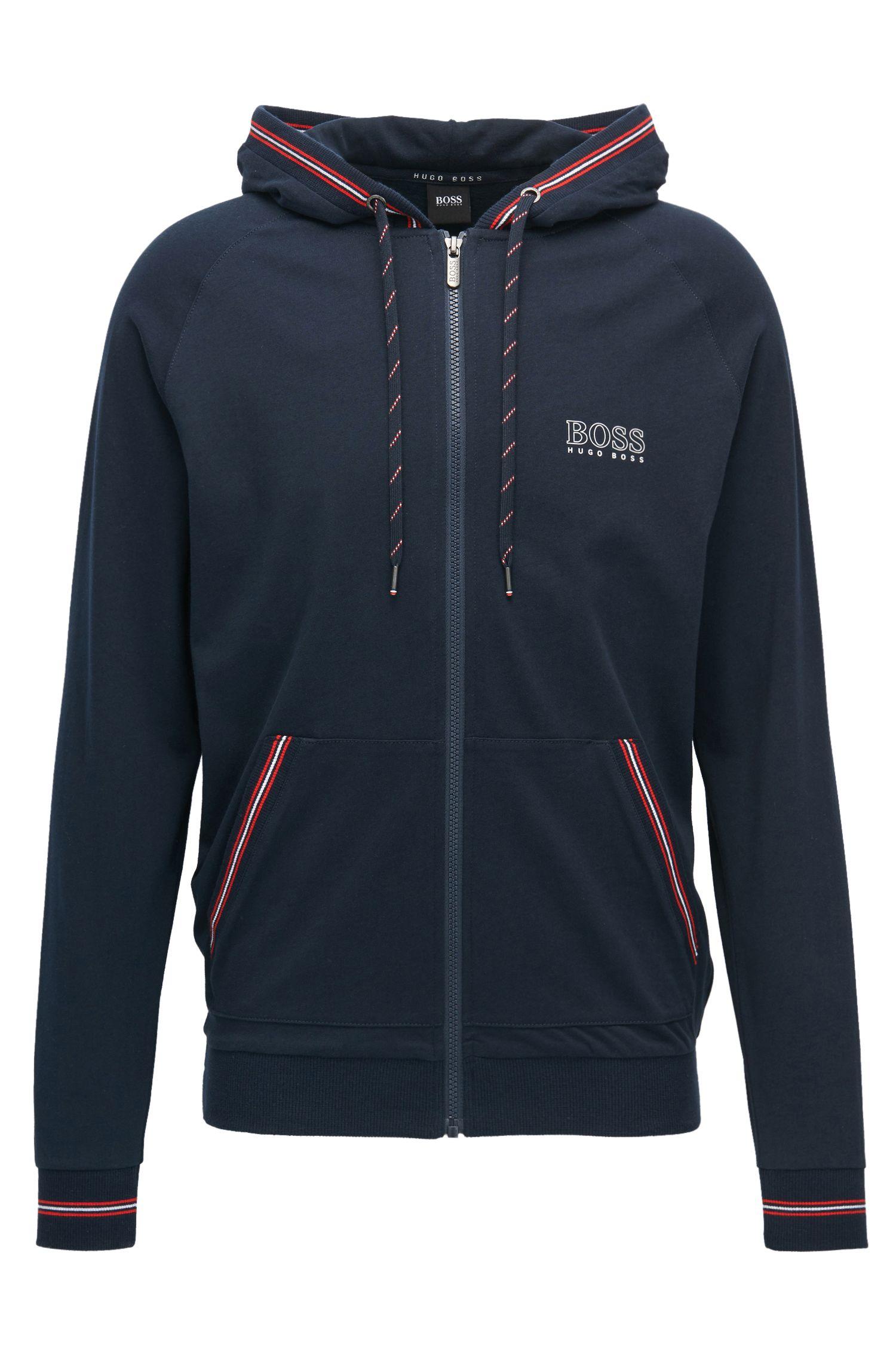 Regular-fit hooded loungewear jacket in single jersey
