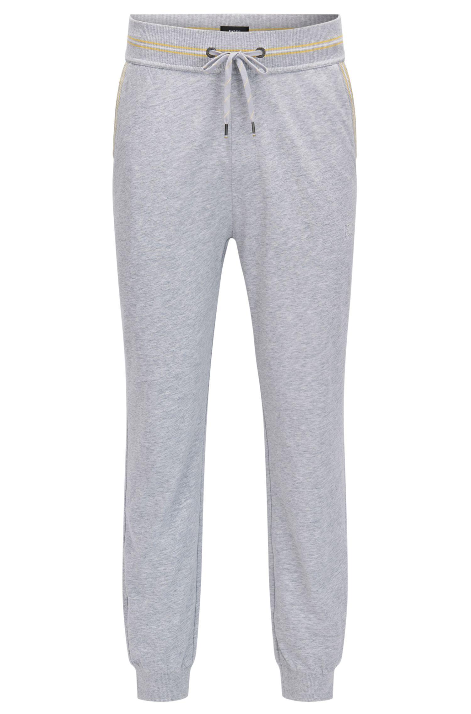 Pantaloni per il tempo libero con bordo a coste in jersey di cotone