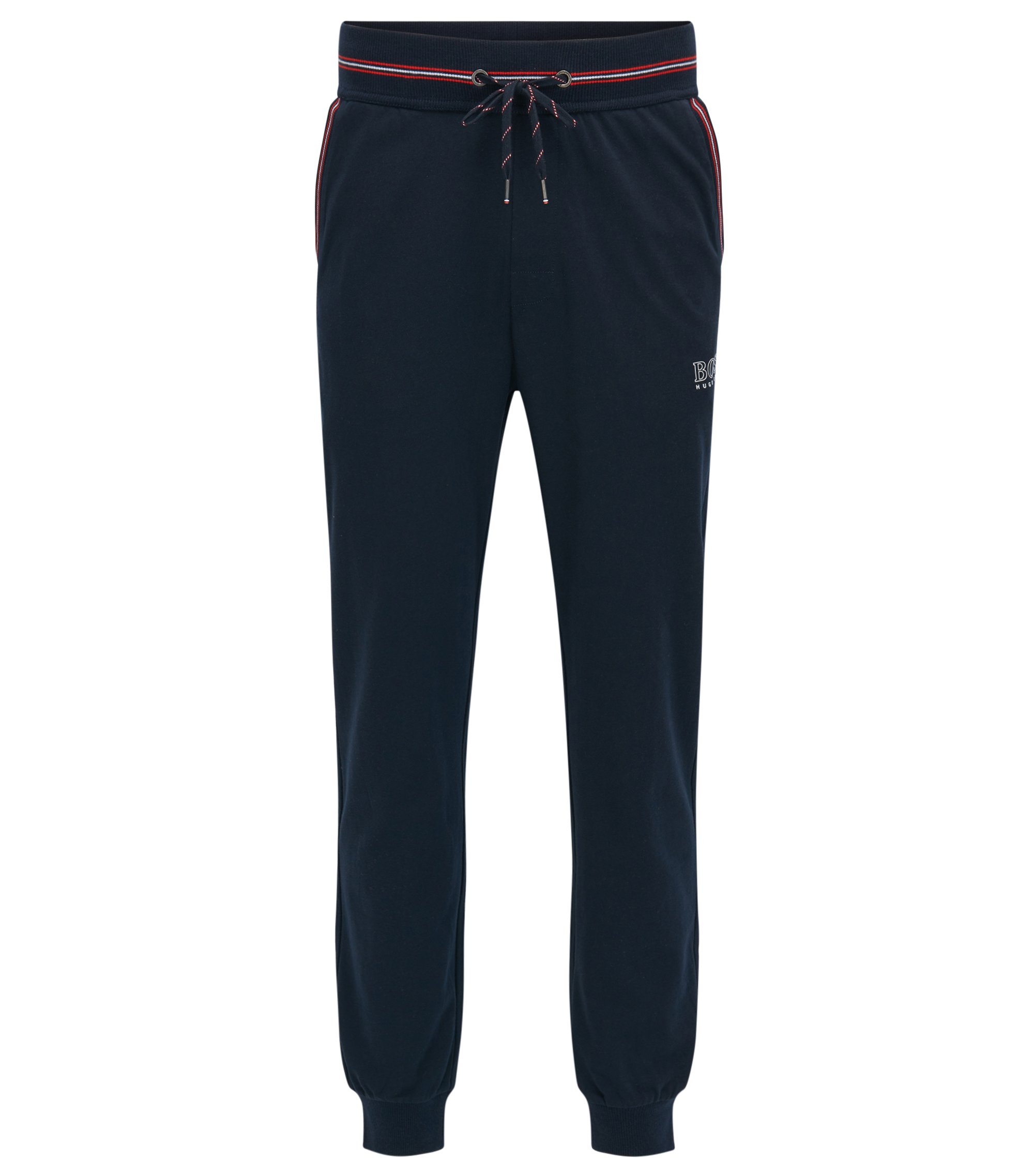 Cuffed loungewear trousers in single-jersey cotton, Dark Blue