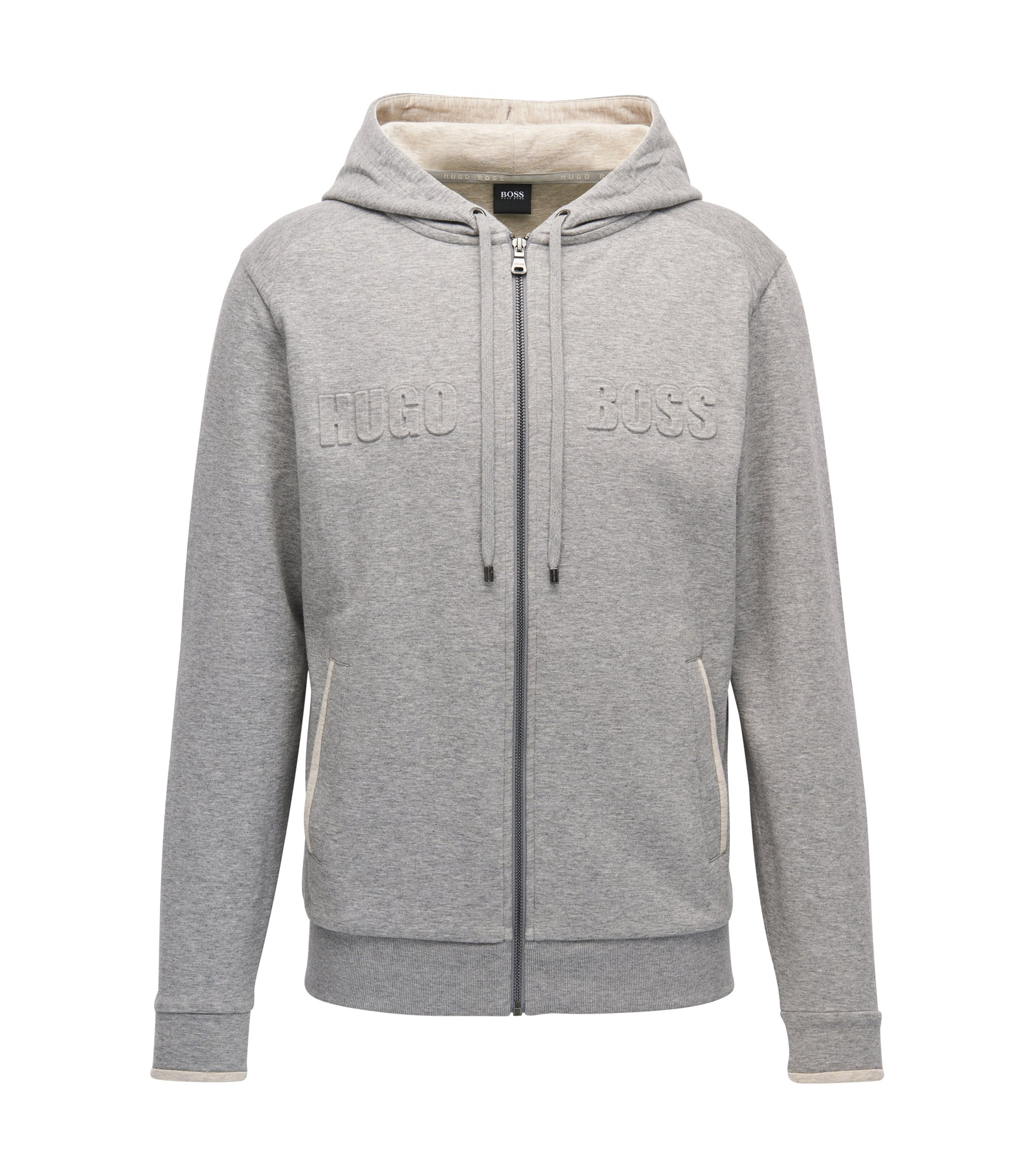 Loungewear hoodie in a double-face cotton blend, Grey