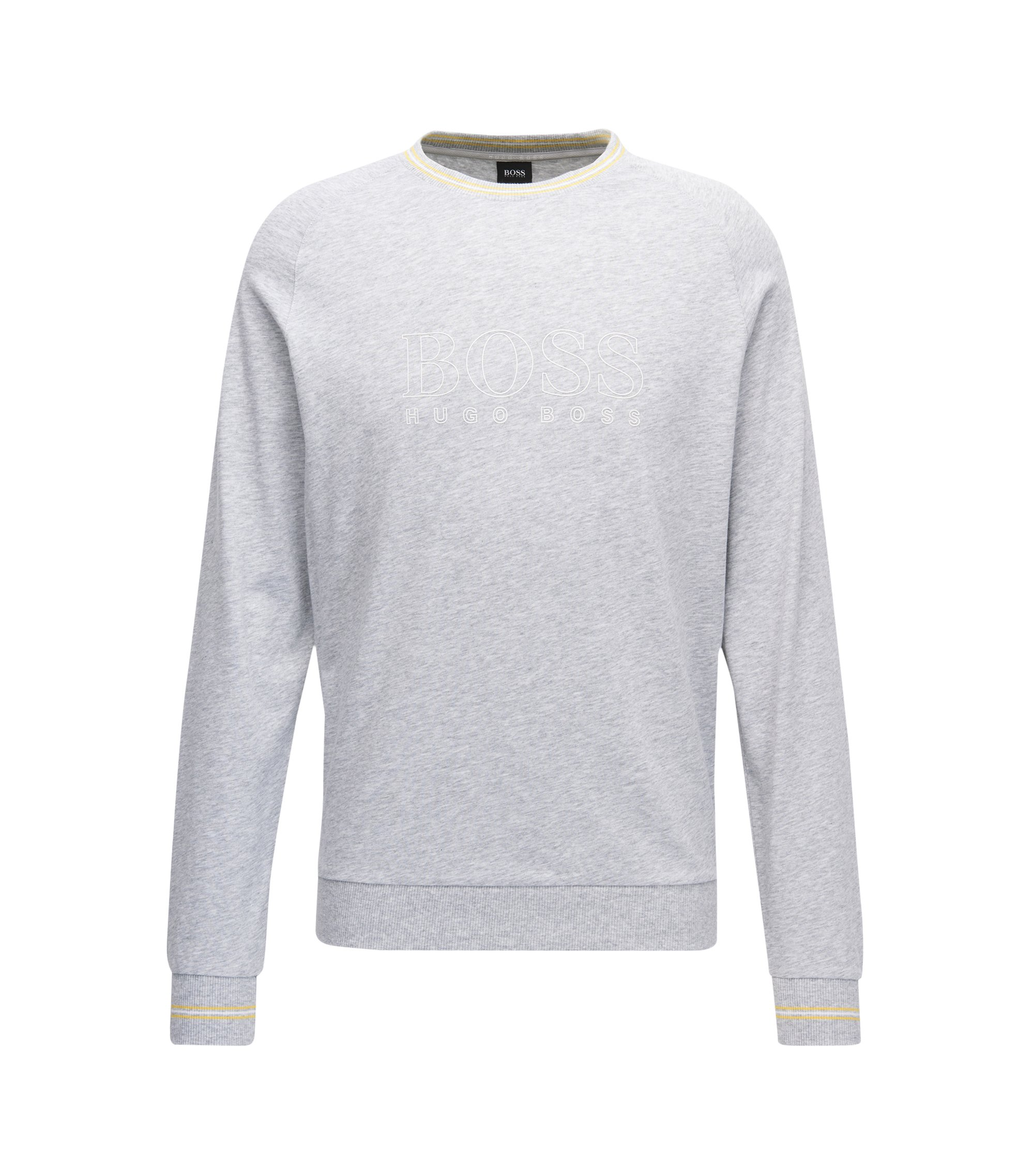 Crew-neck loungewear sweatshirt in cotton jersey, Grey