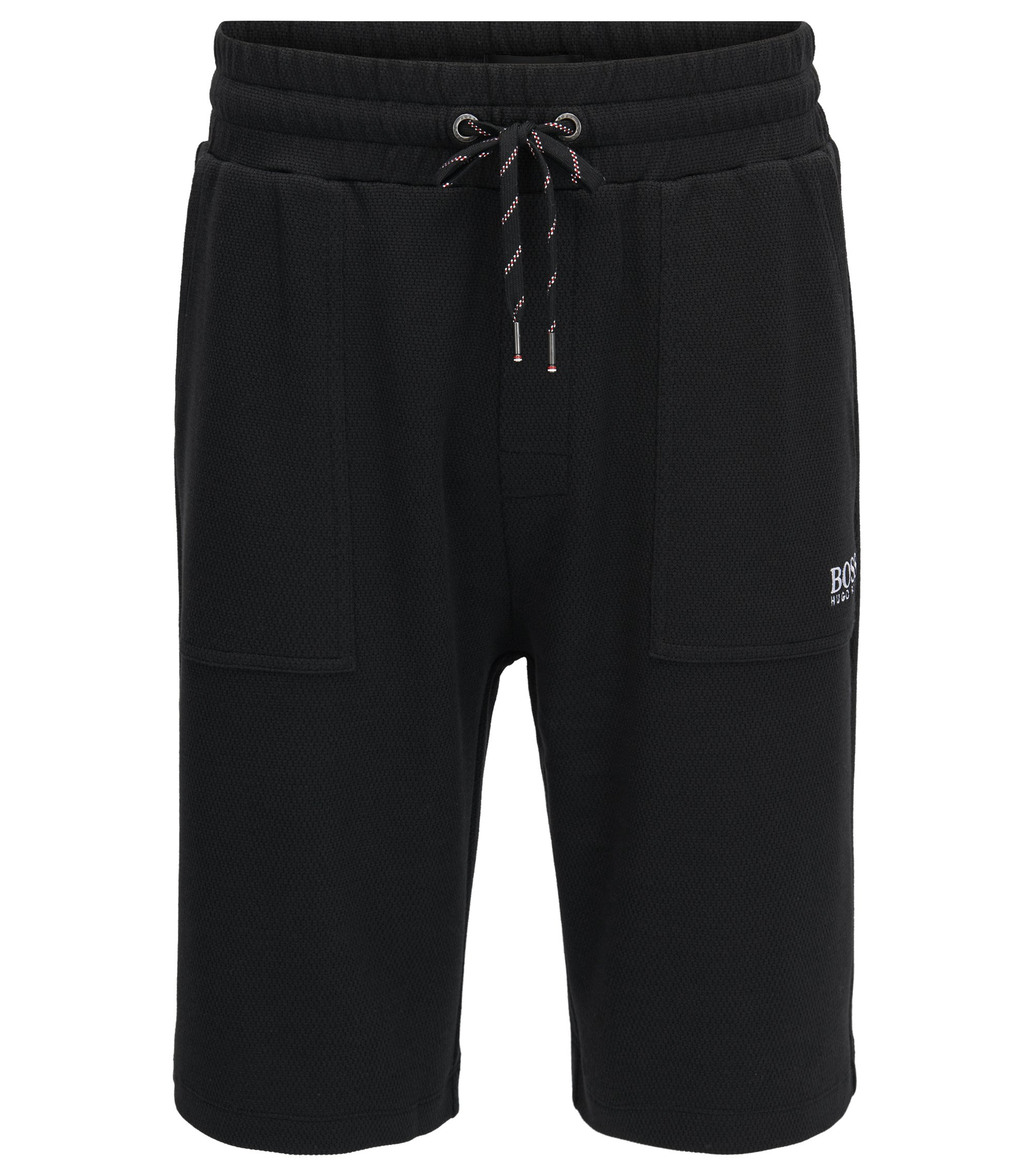Loungewear shorts in cotton-blend piqué, Black