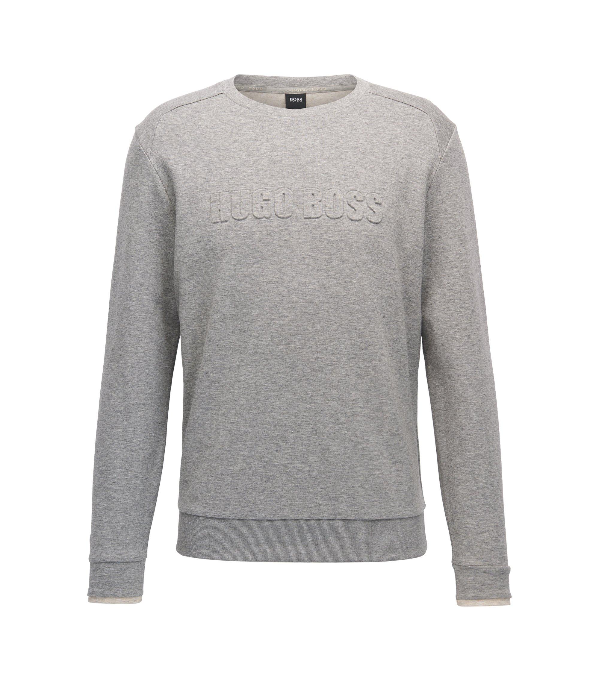 Loungewear-Pullover aus zweiseitigem Baumwoll-Mix, Grau