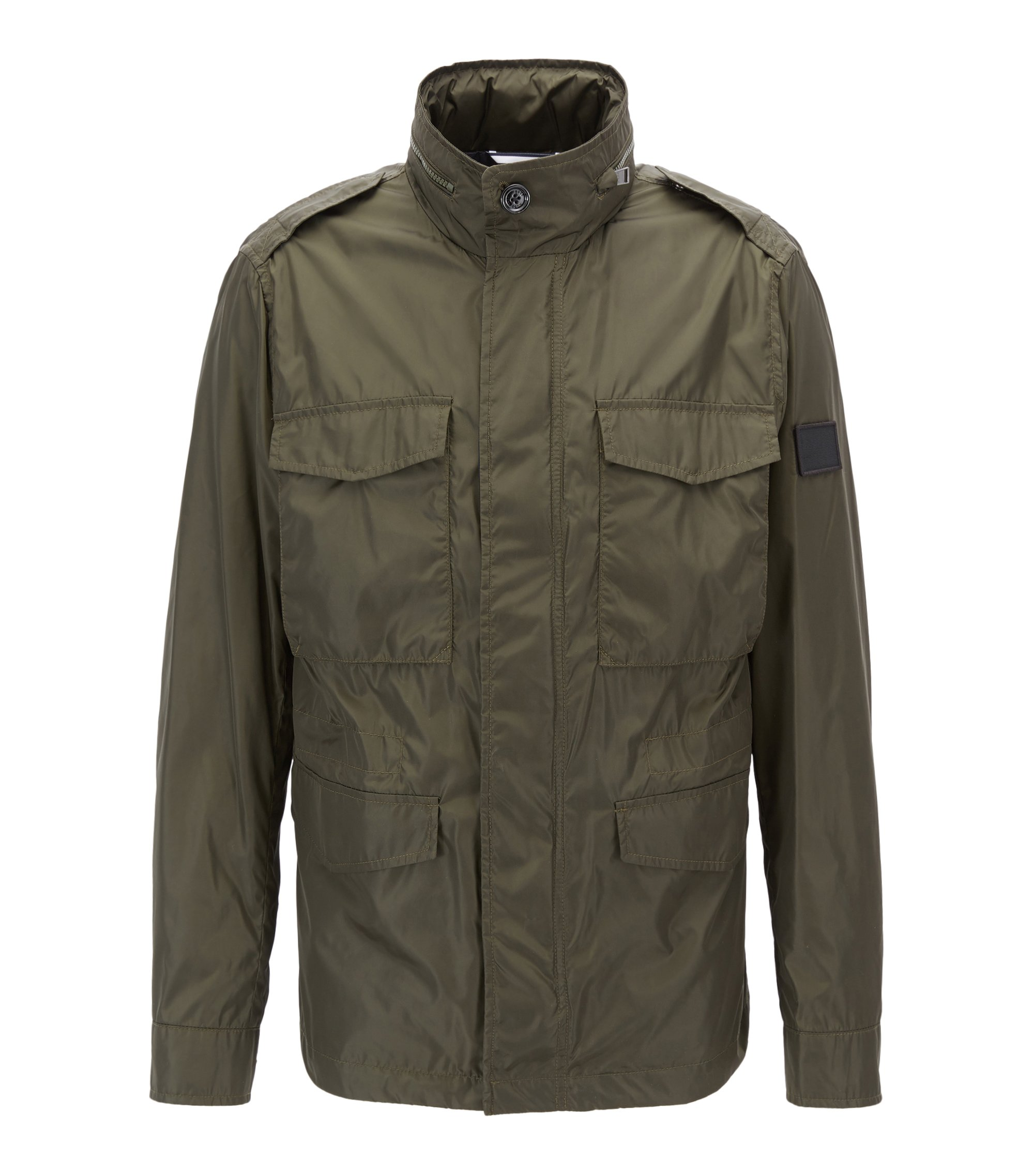 Water-repellent utility jacket with hidden hood , Dark Green