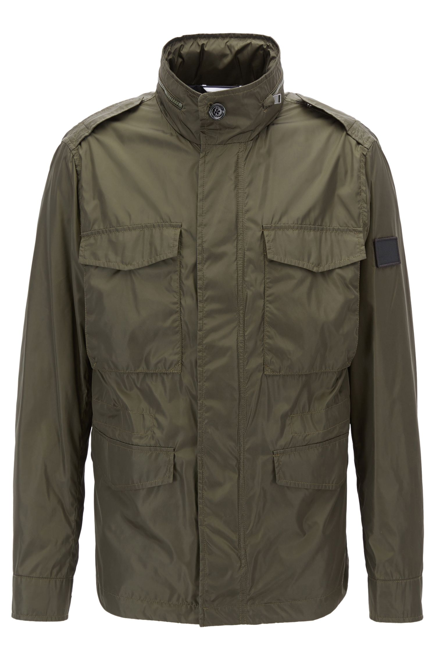 Water-repellent utility jacket with hidden hood