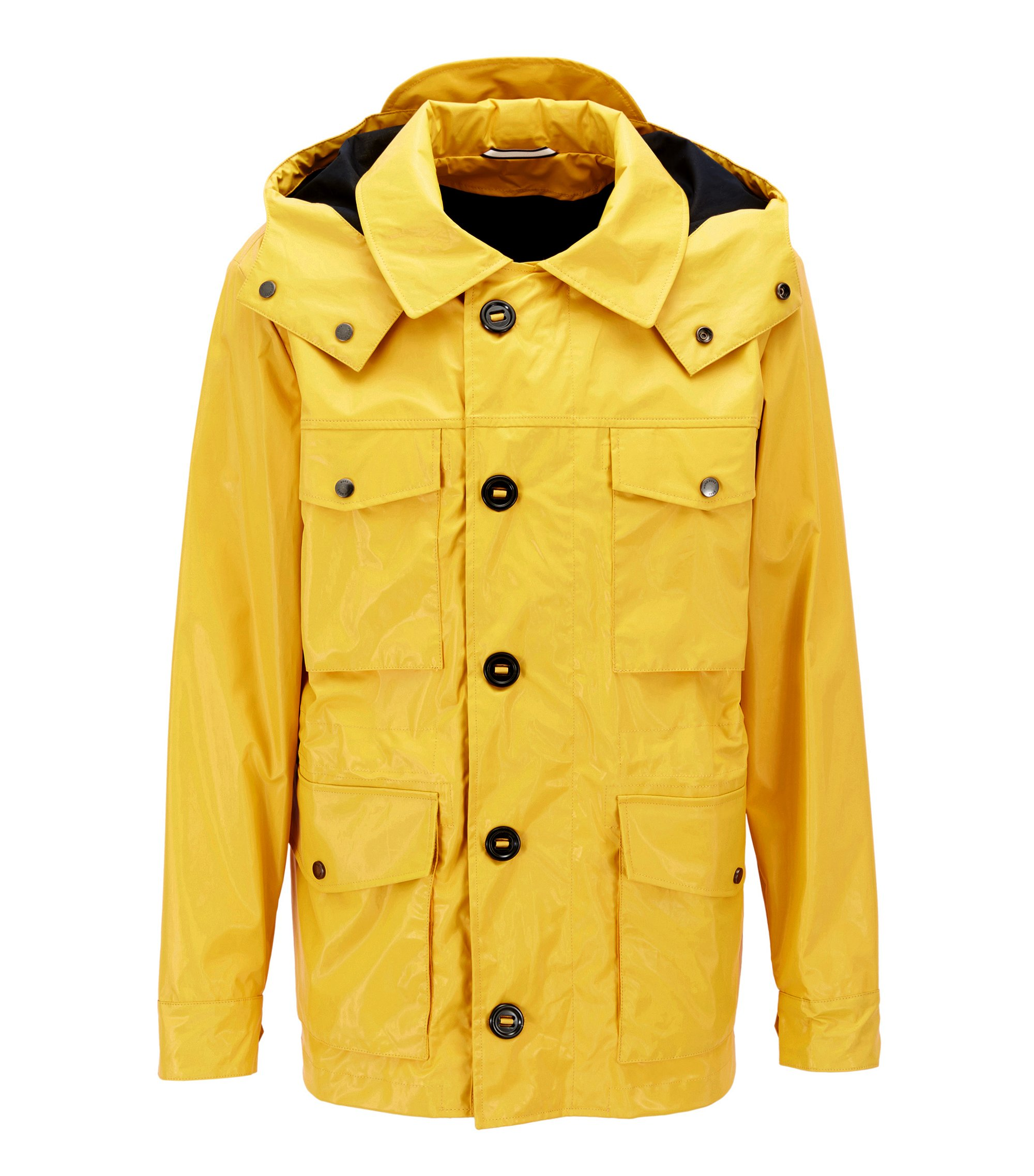 Coated-cotton field jacket with detachable hood , Yellow
