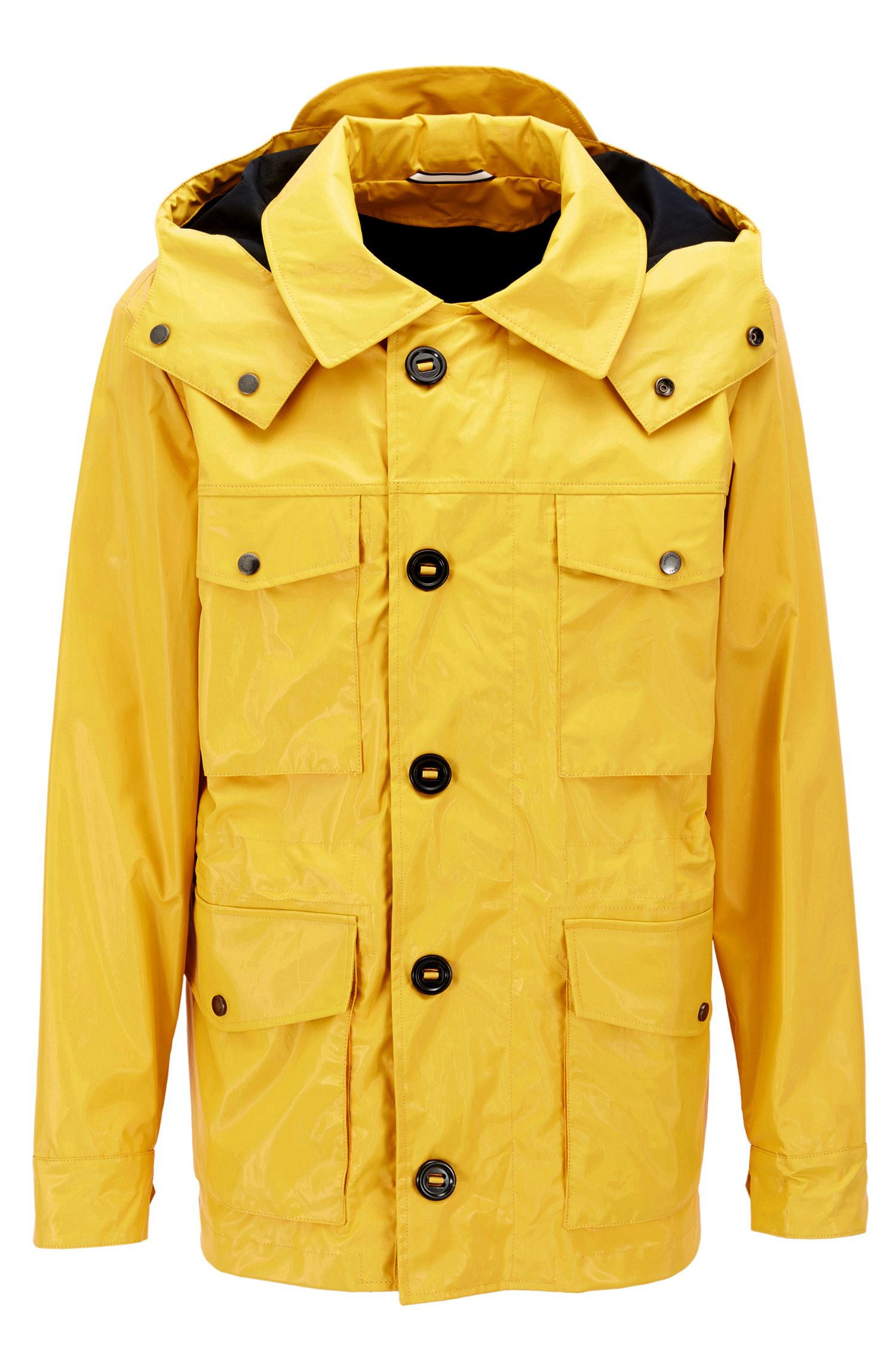 Coated-cotton field jacket with detachable hood