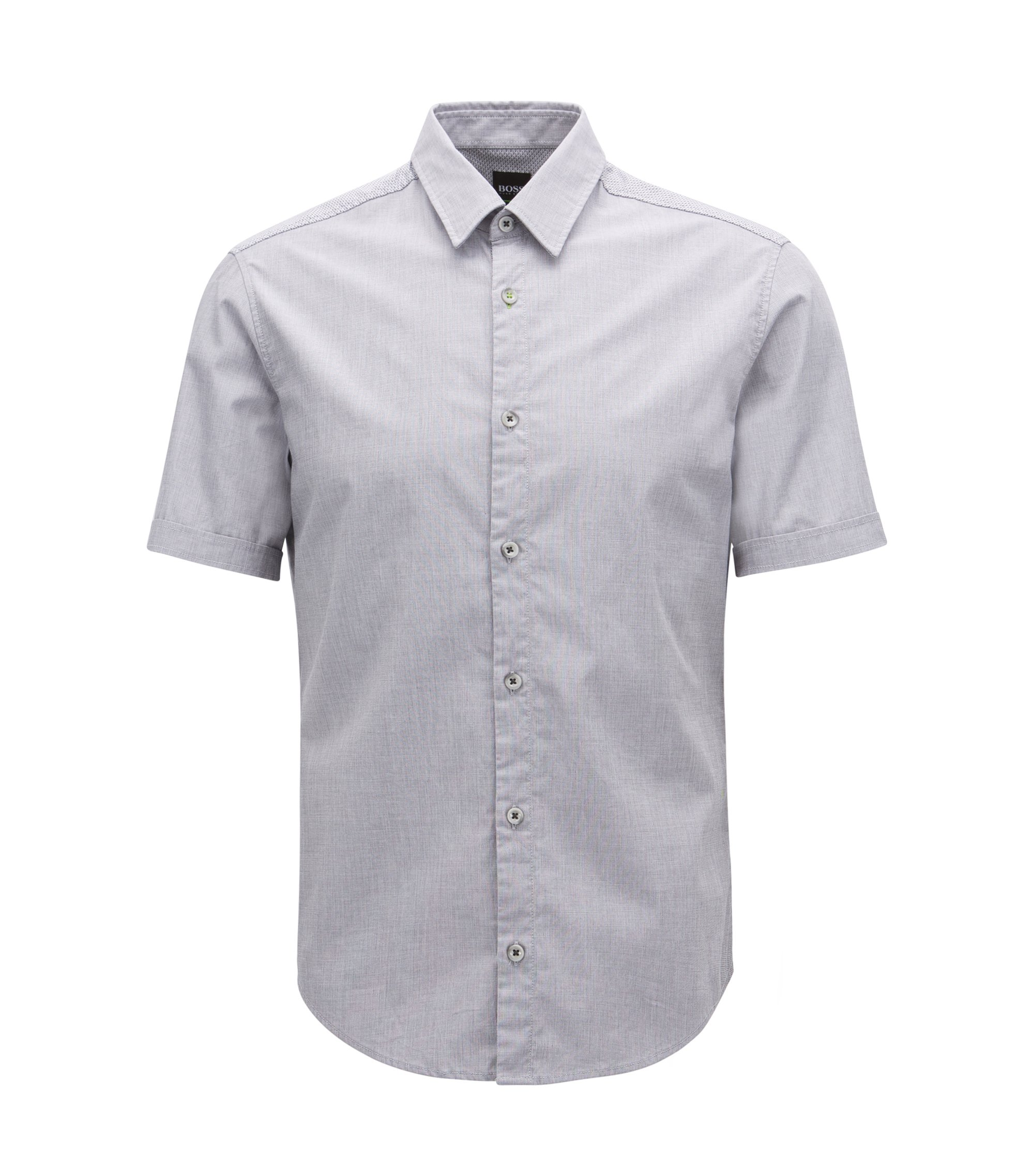 Camicia regular fit in cotone elasticizzato con sistema di gestione dell'umidità, Grigio chiaro