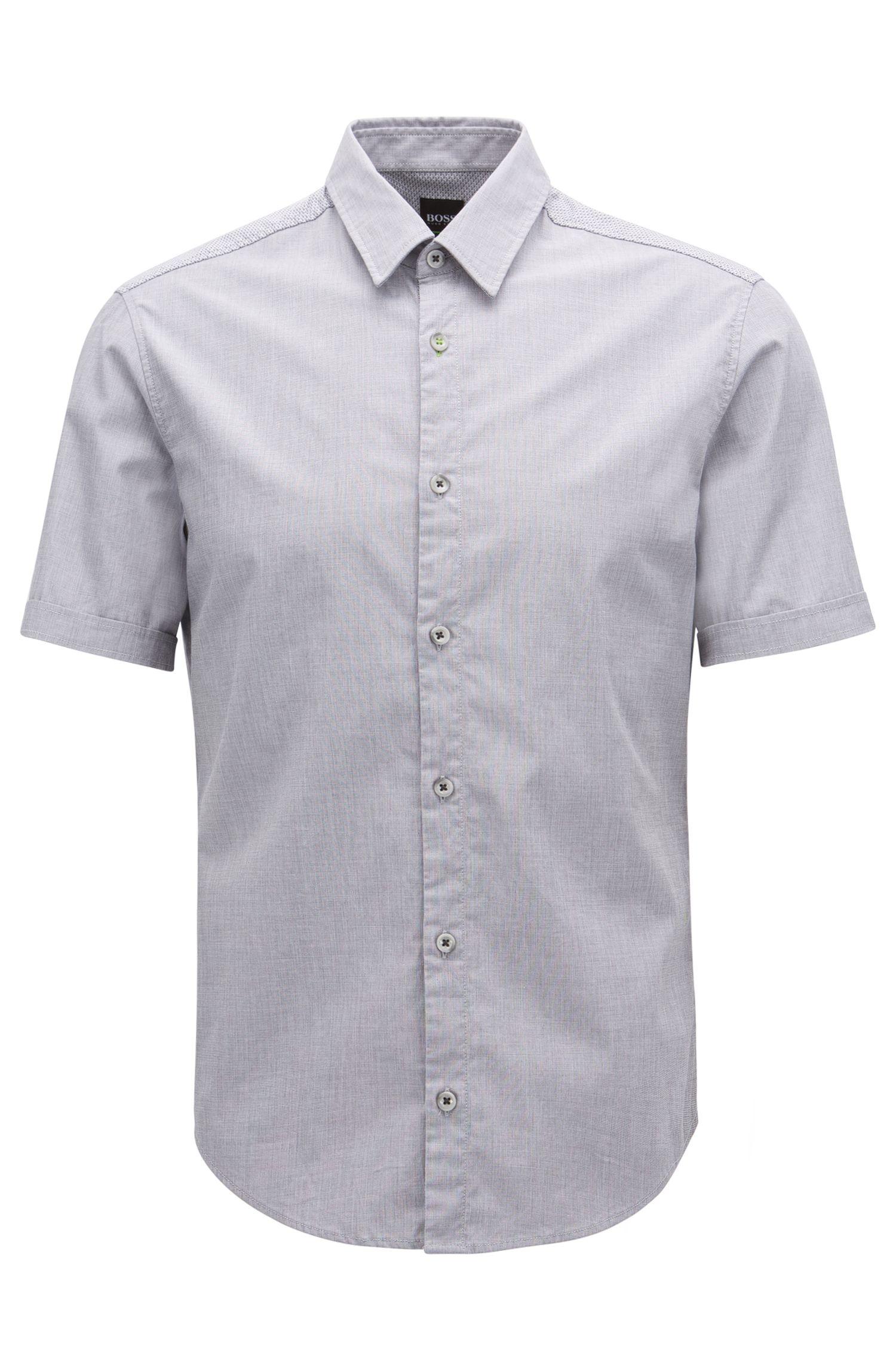 Camicia regular fit in cotone elasticizzato con sistema di gestione dell'umidità