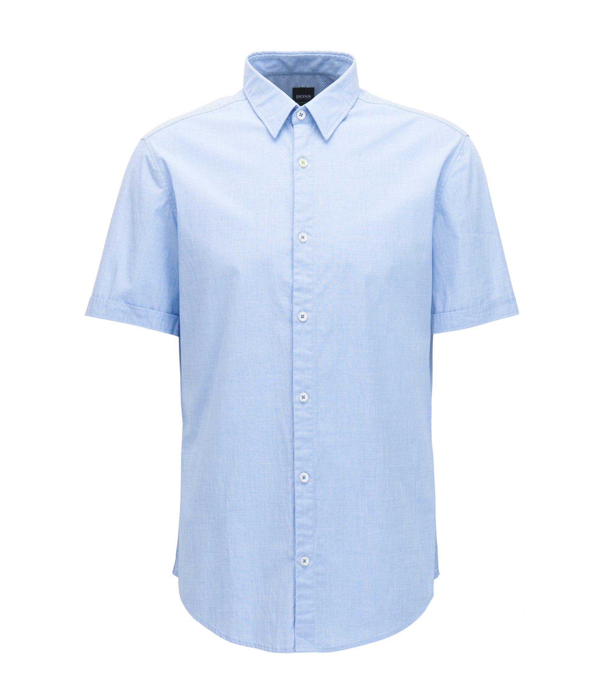 Camicia regular fit in cotone elasticizzato con sistema di gestione dell'umidità, Celeste