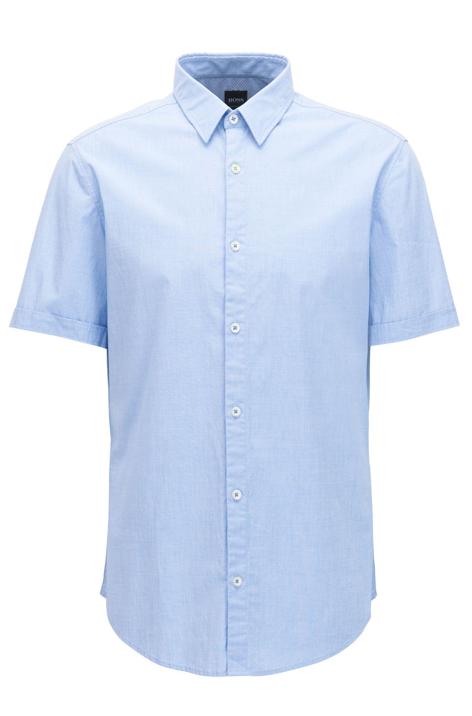 Regular-fit stretch-cotton shirt with moisture management
