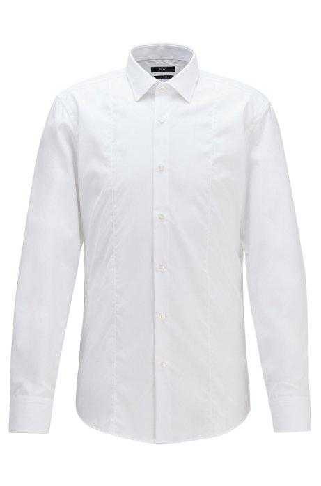 Slim-Fit Hemd aus bügelleichter Baumwoll-Popeline, Weiß