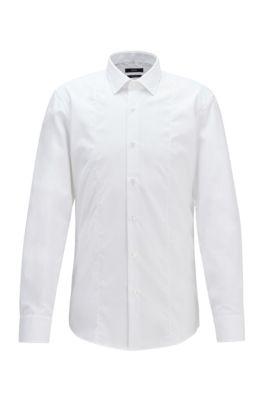 Camisa slim fit de popelín de algodón de planchado fácil, Blanco