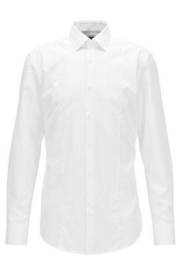 Slim-Fit Hemd aus bügelleichter Baumwolle mit Einsatz vorne, Weiß